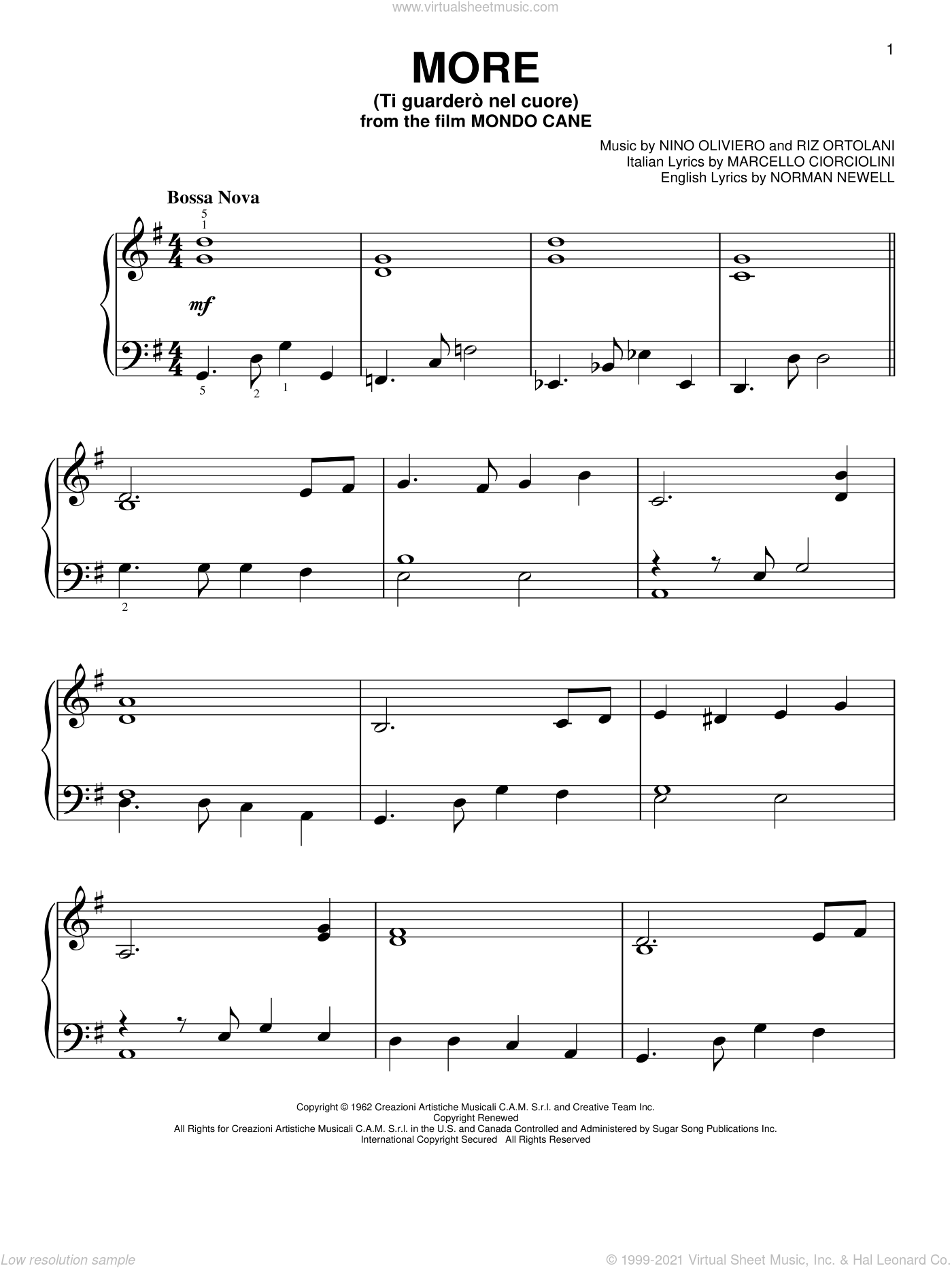 More (Ti Guardero Nel Cuore) sheet music for piano solo by Norman Newell, Kai Winding, Marcello Ciorciolini, Nino Oliviero and Riz Ortolani, easy skill level