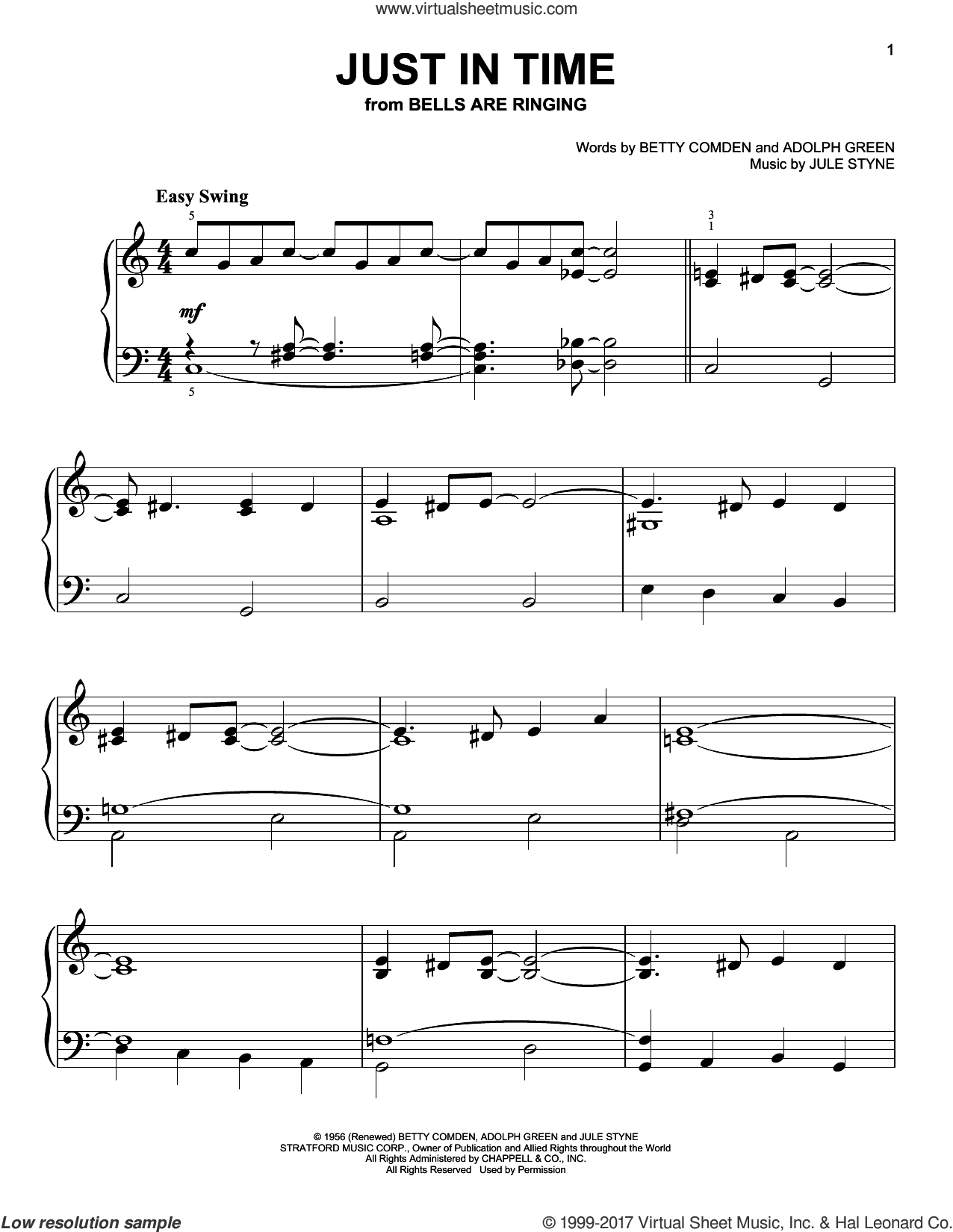 Just In Time, (easy) sheet music for piano solo by Jule Styne, Adolph Green and Betty Comden, wedding score, easy skill level