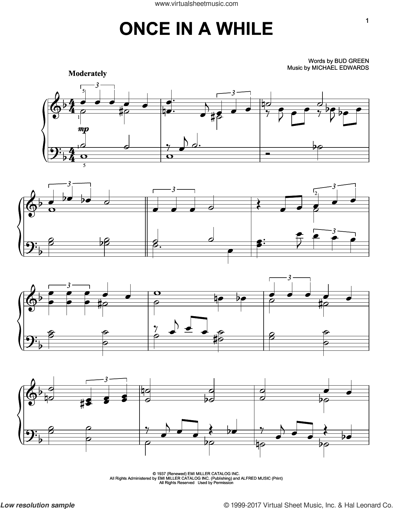 Once In A While sheet music for piano solo by Bud Green and Michael Edwards, easy skill level