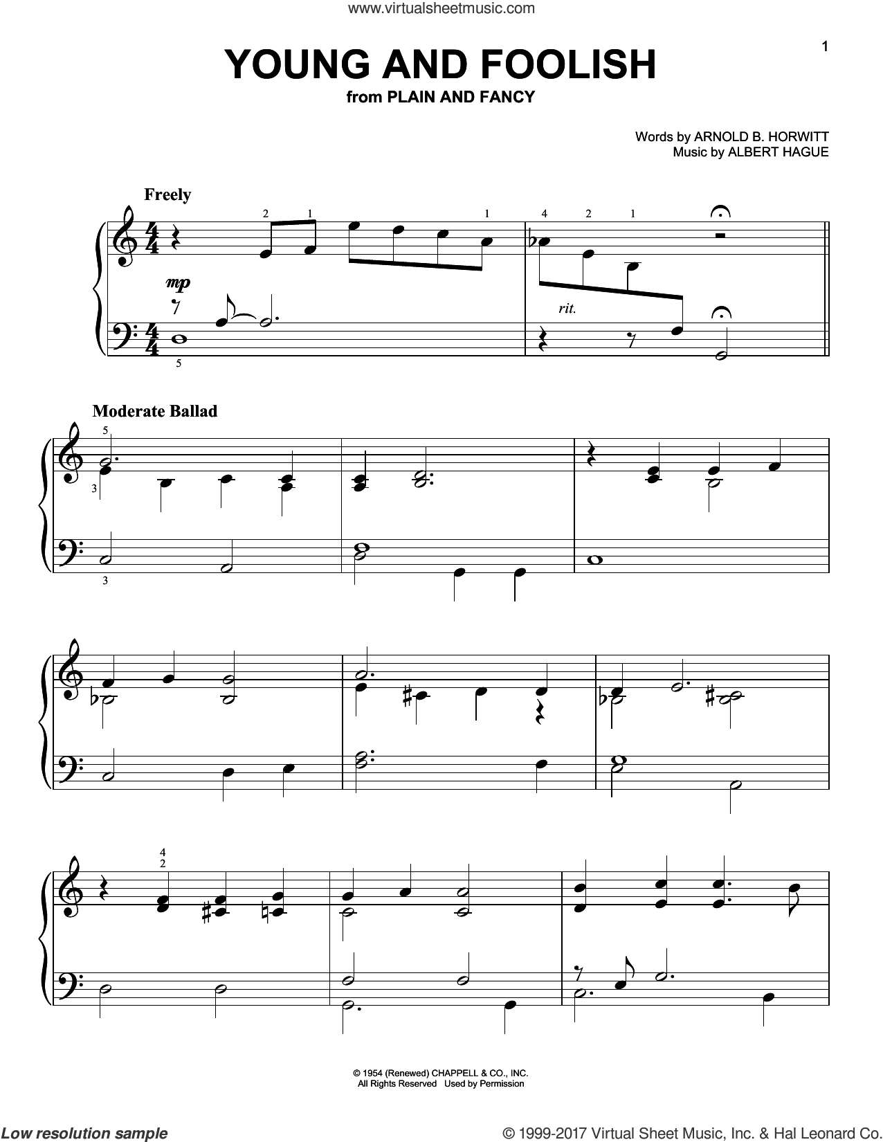 Young And Foolish sheet music for piano solo by Arnold B. Horwitt and Albert Hague, easy. Score Image Preview.