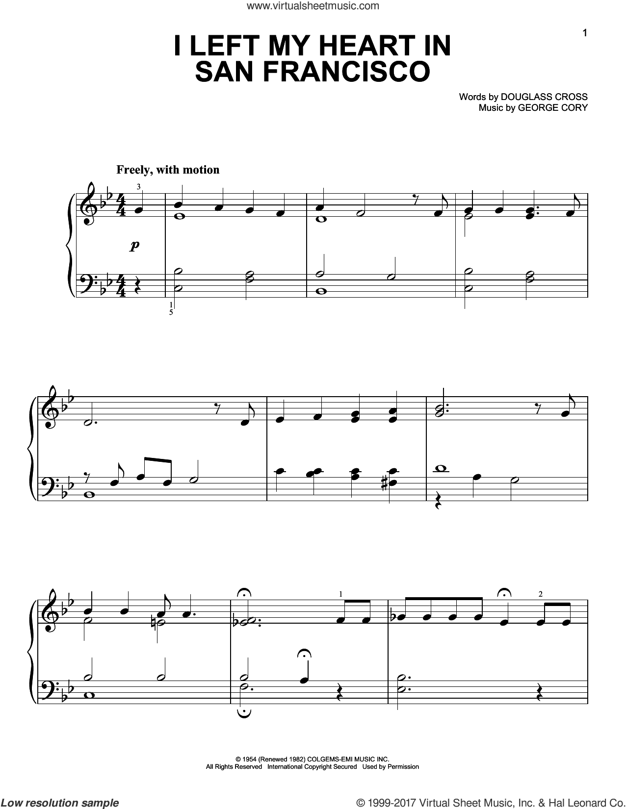 I Left My Heart In San Francisco sheet music for piano solo by George Cory, Tony Bennett and Douglass Cross, easy skill level