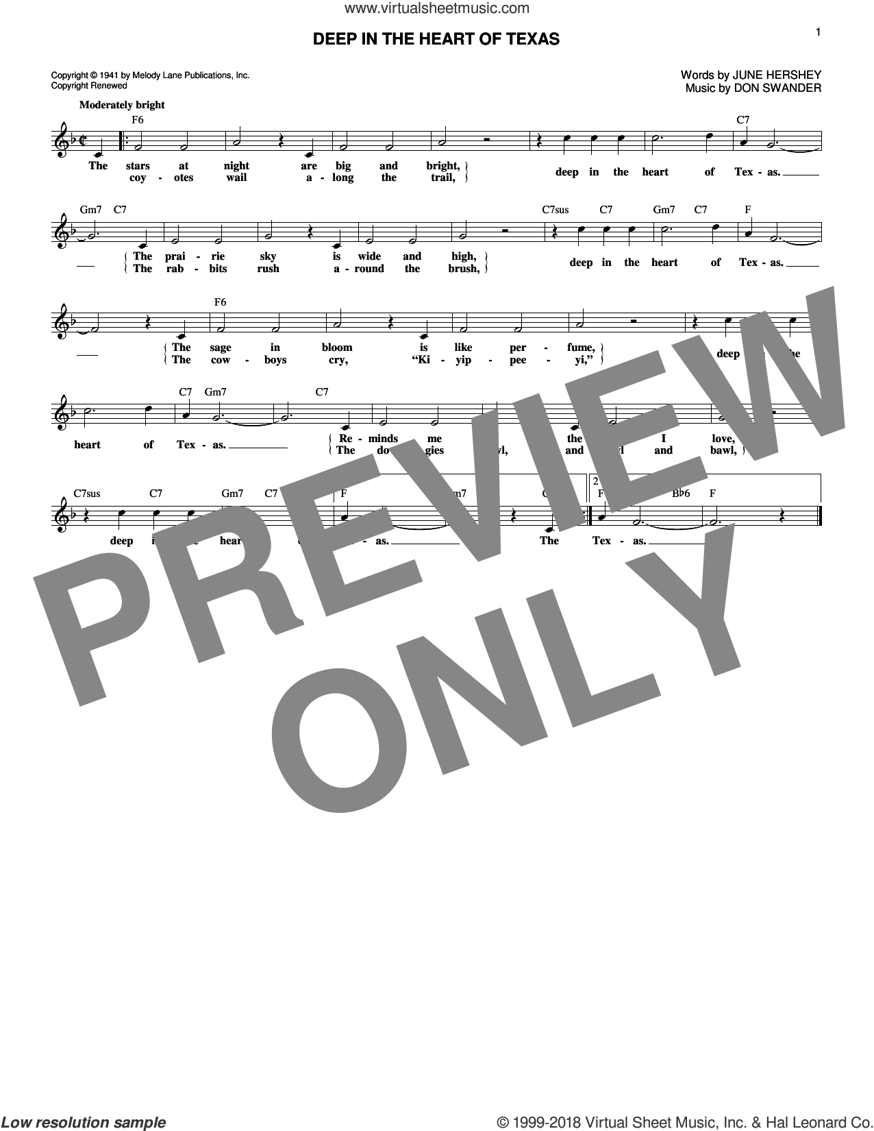 Deep In The Heart Of Texas sheet music for voice and other instruments (fake book) by Don Swander, Alvino Rey & His Orchestra, Bing Crosby and June Hershey, intermediate skill level