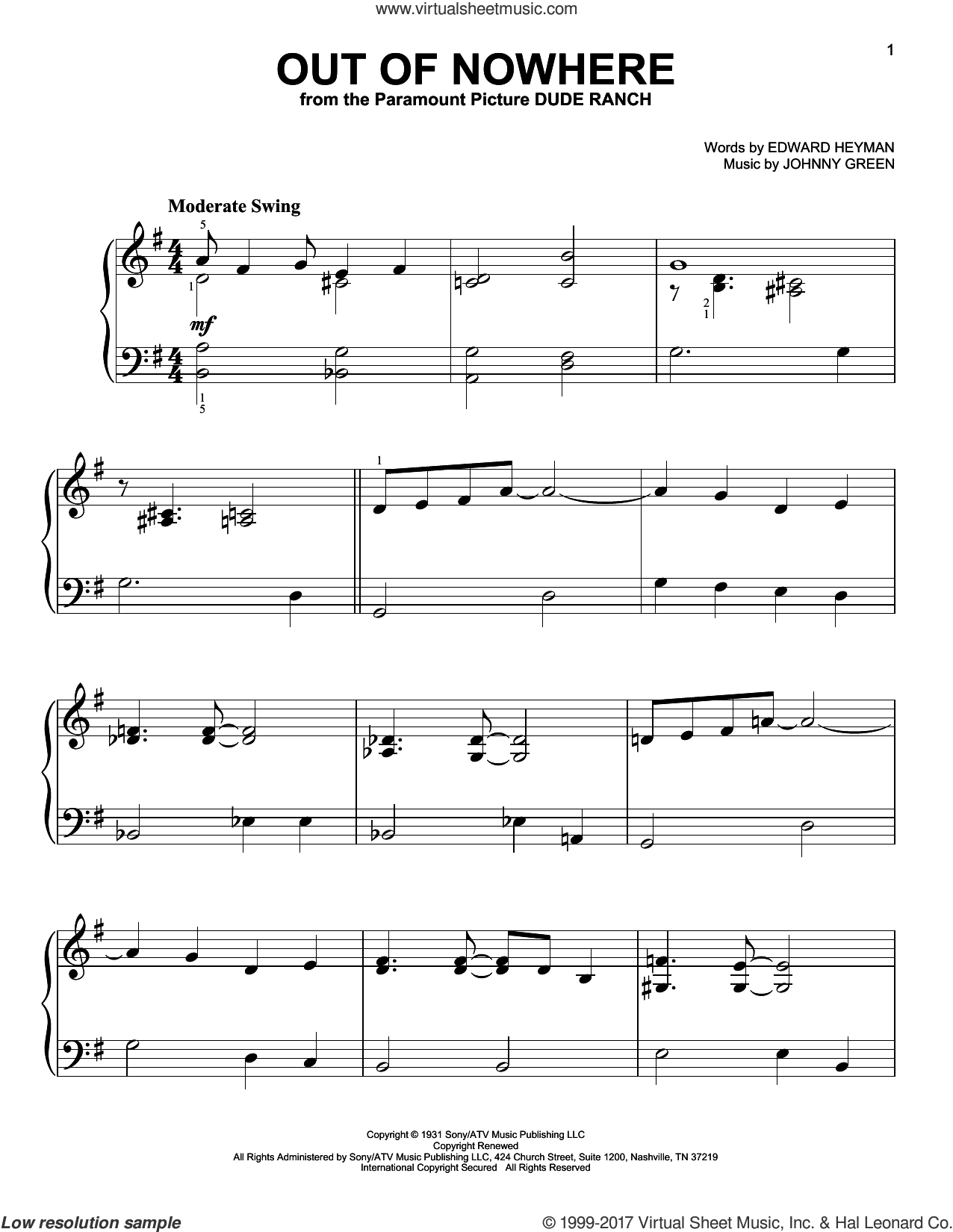 Out Of Nowhere sheet music for piano solo by Edward Heyman, Buddy DeFranco and Johnny Green, easy skill level