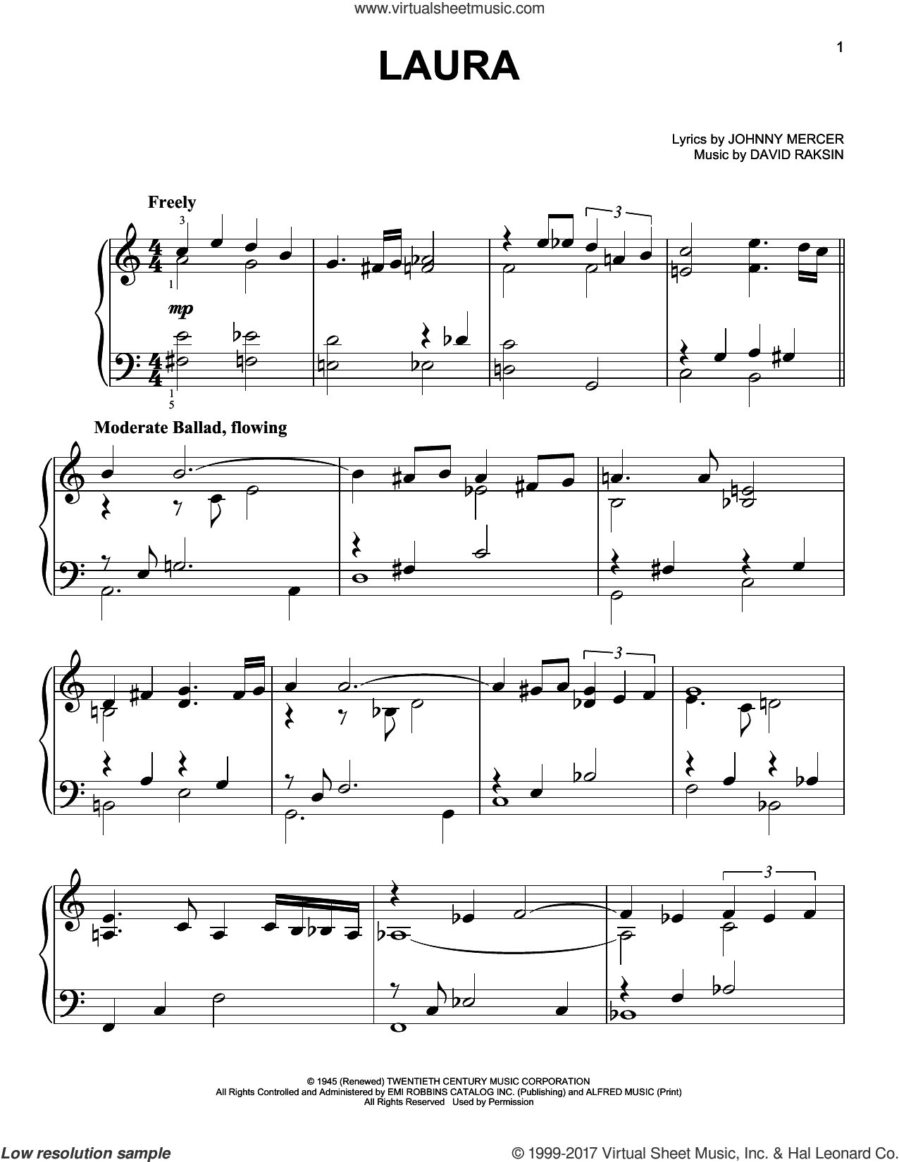 Laura sheet music for piano solo by Johnny Mercer and David Raksin, easy skill level