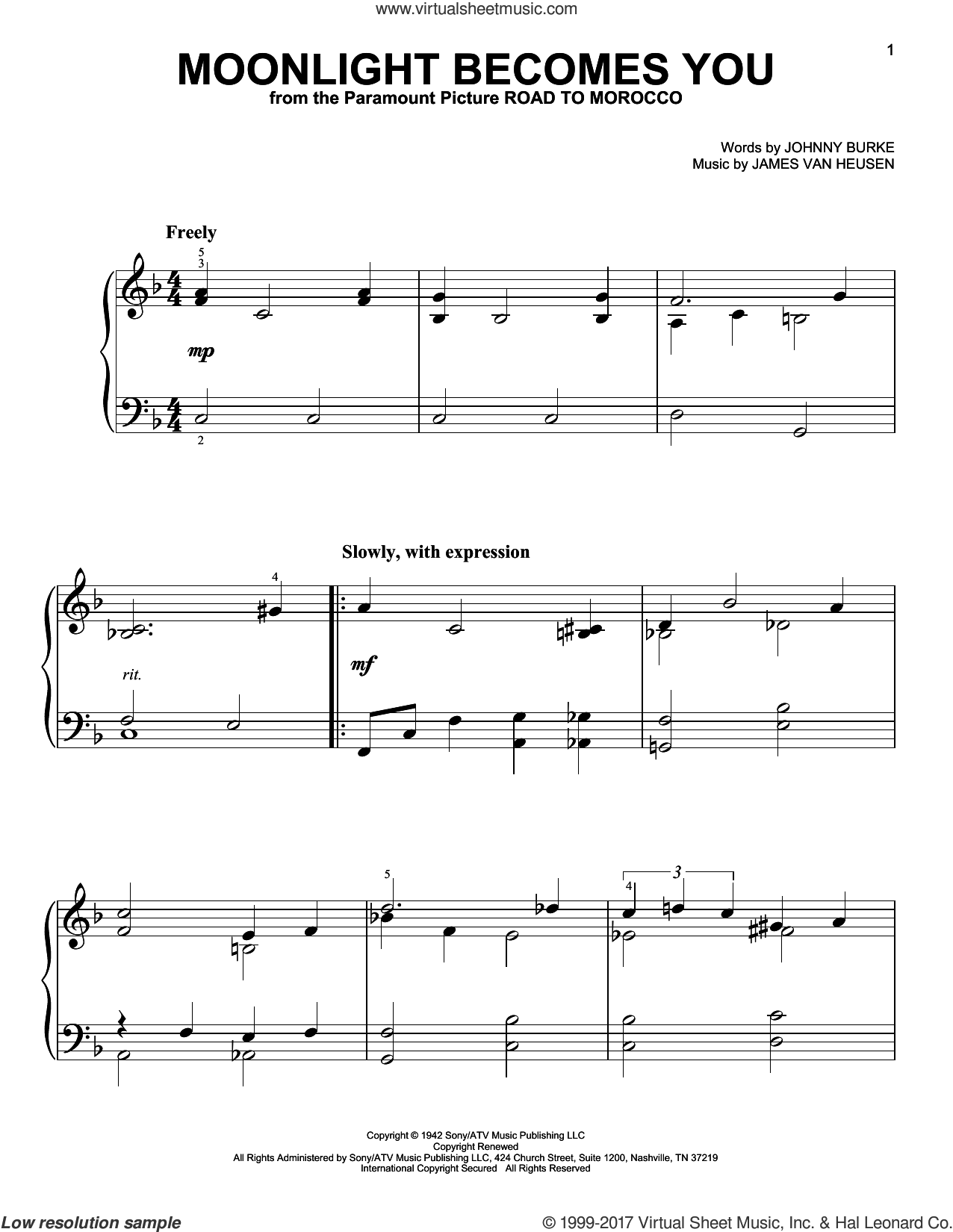 Moonlight Becomes You sheet music for piano solo by Jimmy Van Heusen and John Burke, easy skill level