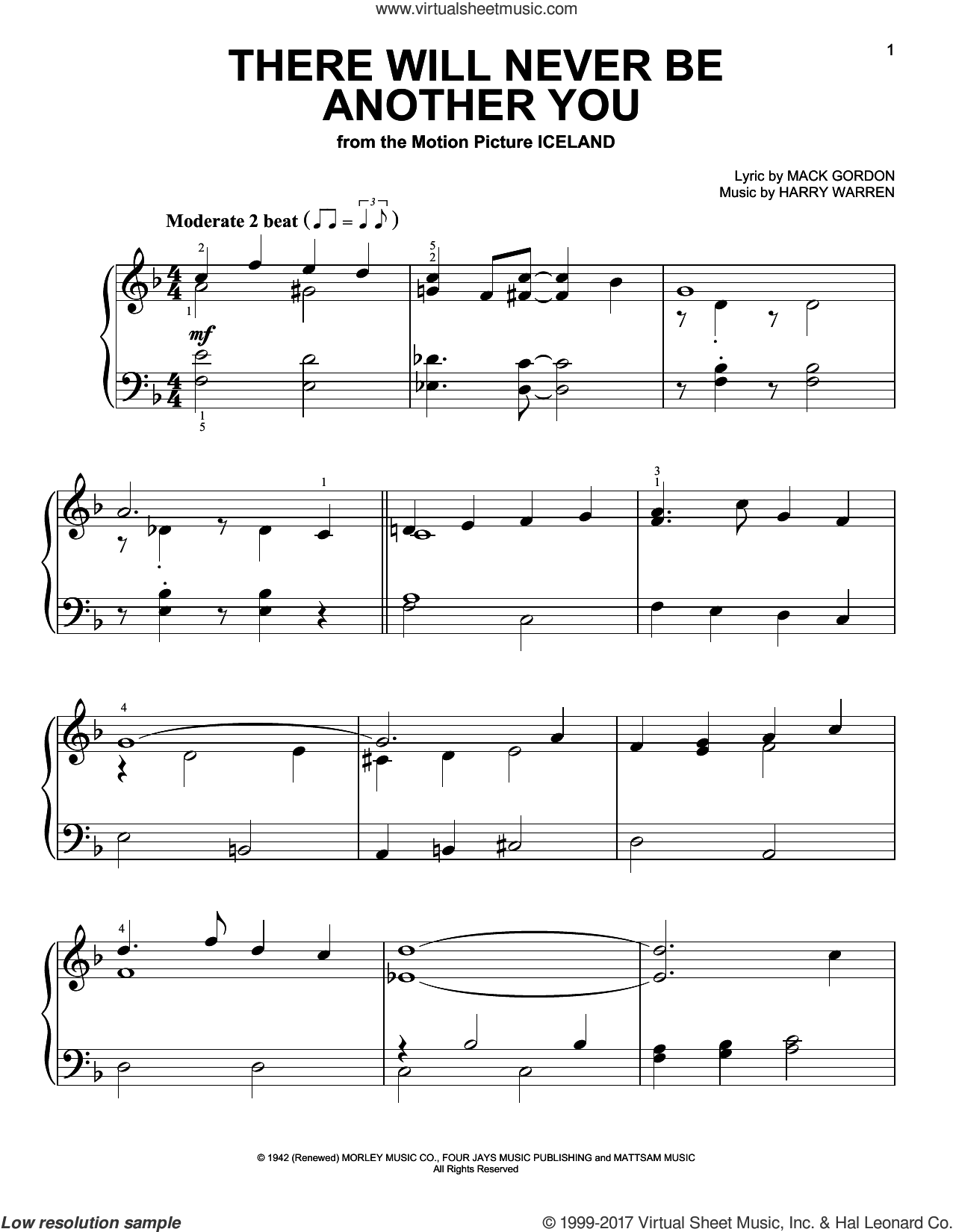 There Will Never Be Another You sheet music for piano solo by Mack Gordon and Harry Warren, easy piano. Score Image Preview.
