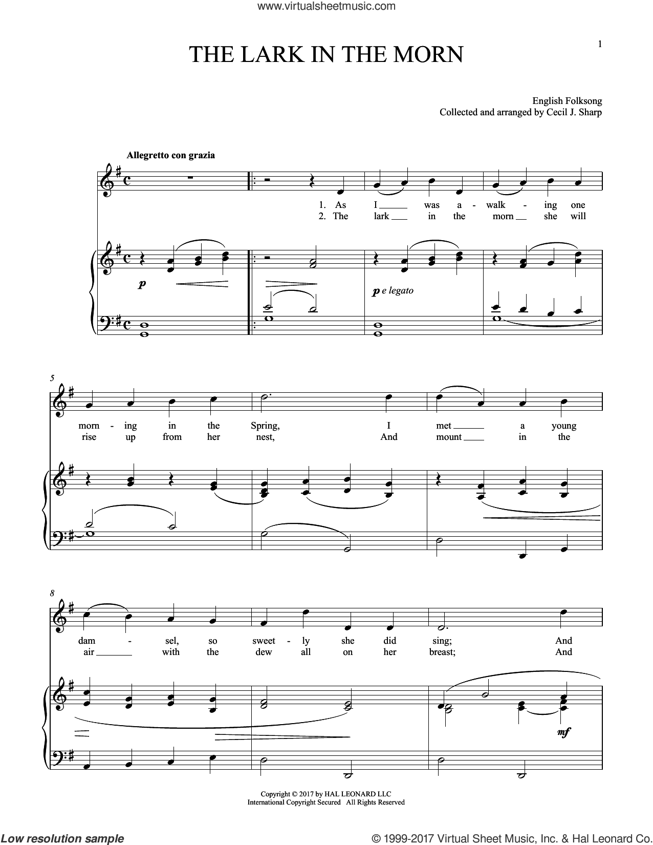 Lark In The Morning sheet music for voice and piano, intermediate skill level
