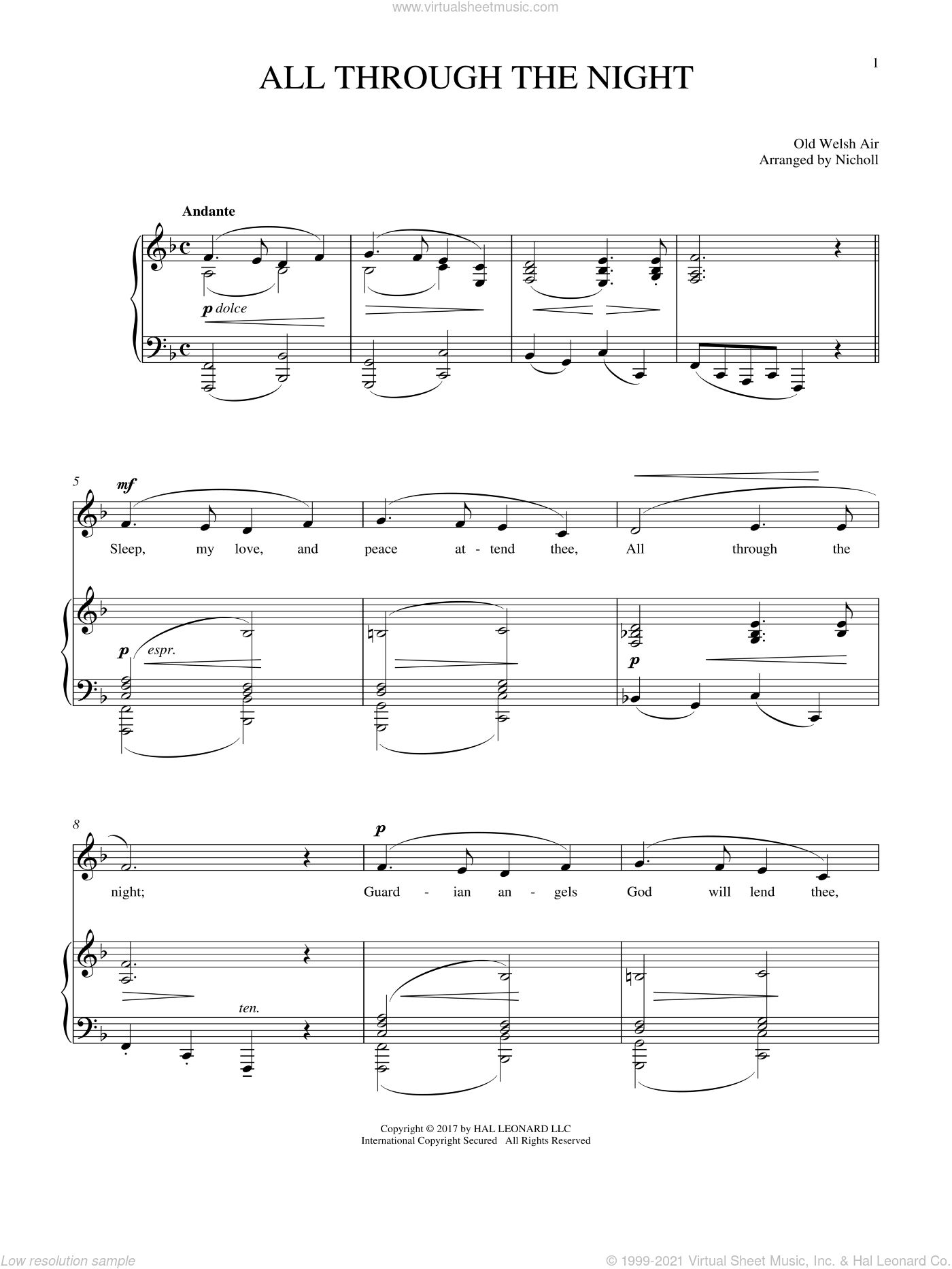 All Through The Night sheet music for voice and piano, intermediate. Score Image Preview.