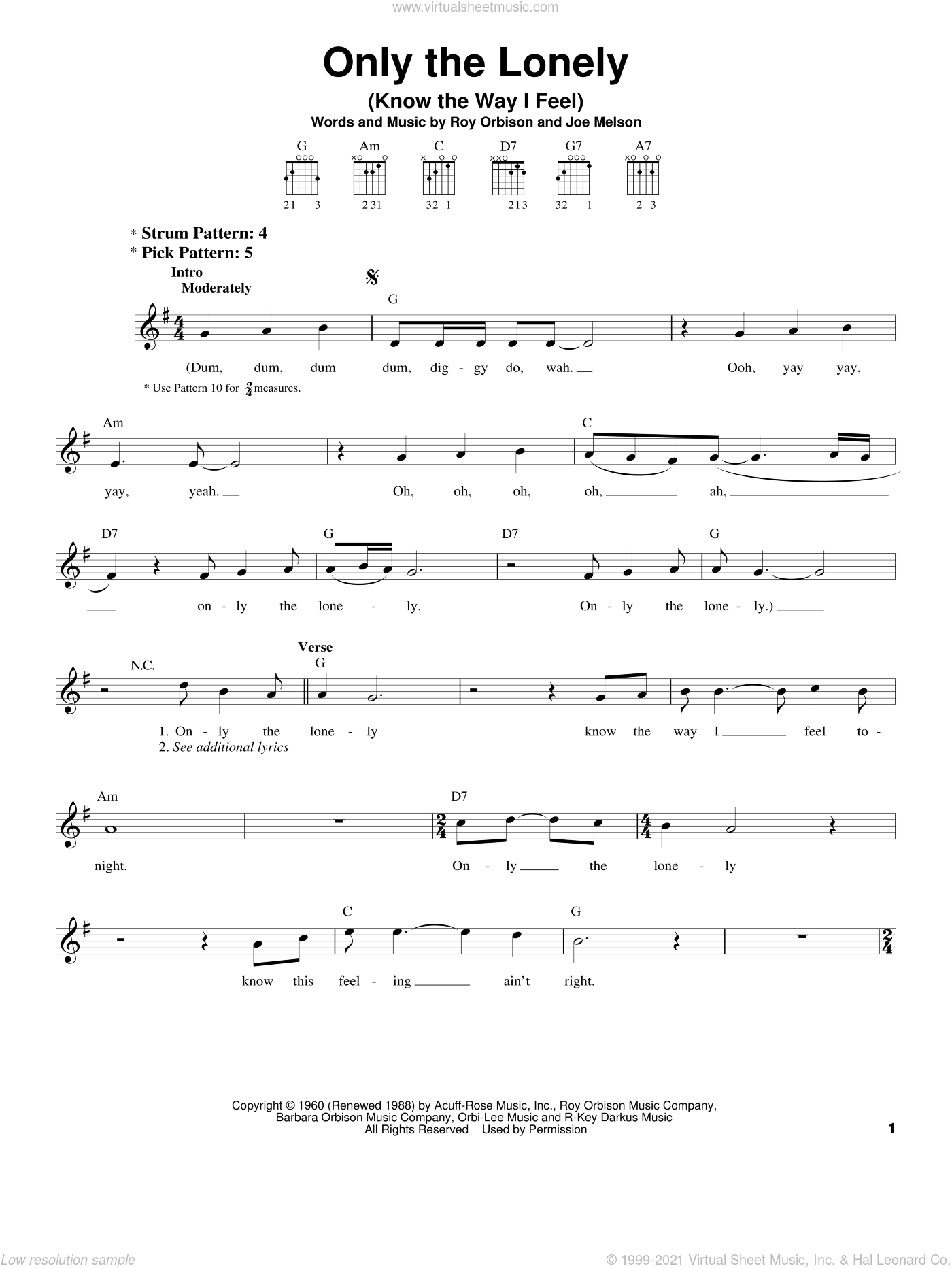 Only The Lonely (Know The Way I Feel) sheet music for guitar solo (chords) by Roy Orbison and Joe Melson, easy guitar (chords)