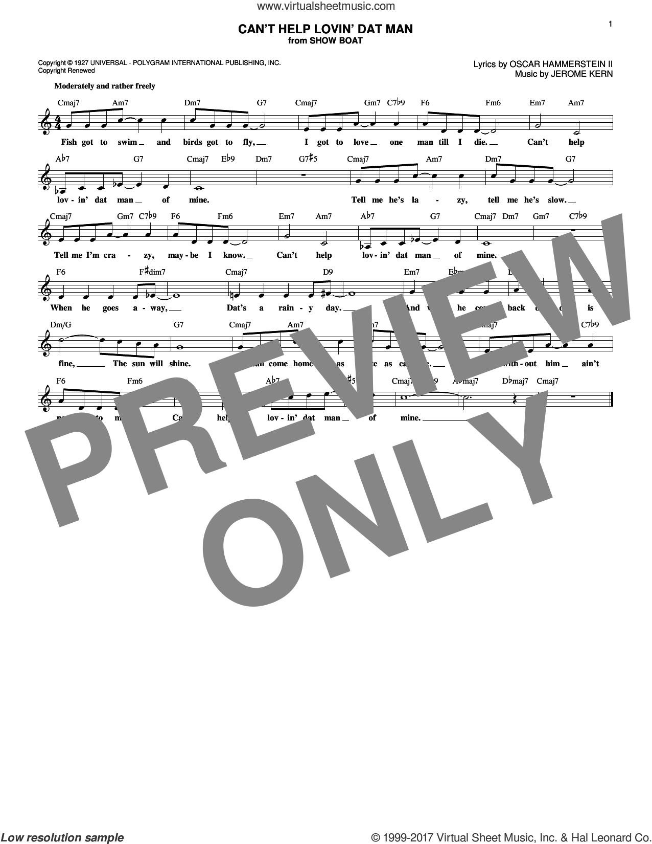 Can't Help Lovin' Dat Man sheet music for voice and other instruments (fake book) by Oscar II Hammerstein, Helen Morgan and Jerome Kern, intermediate voice. Score Image Preview.