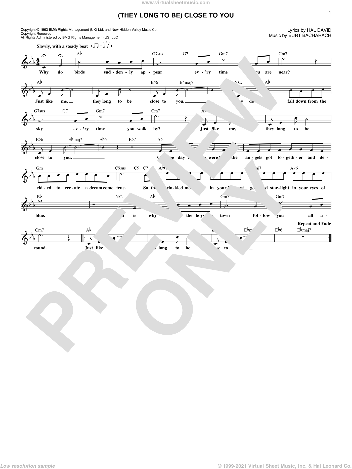 (They Long To Be) Close To You sheet music for voice and other instruments (fake book) by Burt Bacharach, Carpenters and Hal David, intermediate skill level