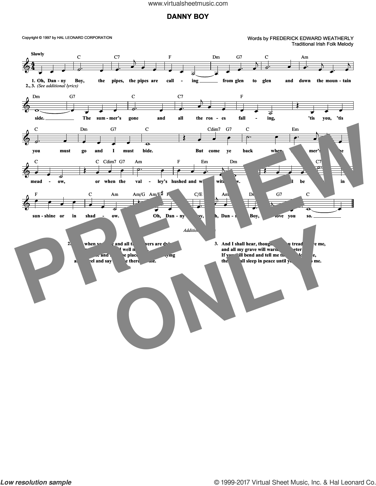 Danny Boy sheet music for voice and other instruments (fake book) by Frederick Edward Weatherly and Traditional Irish, intermediate skill level