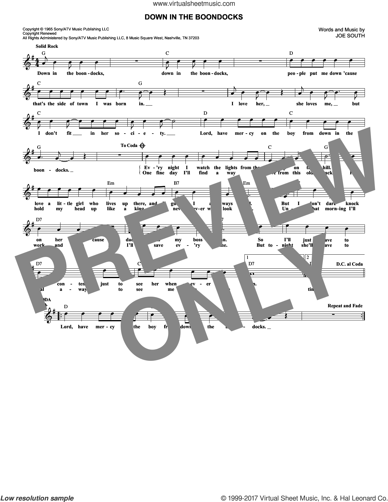 Down In The Boondocks sheet music for voice and other instruments (fake book) by Joe South. Score Image Preview.