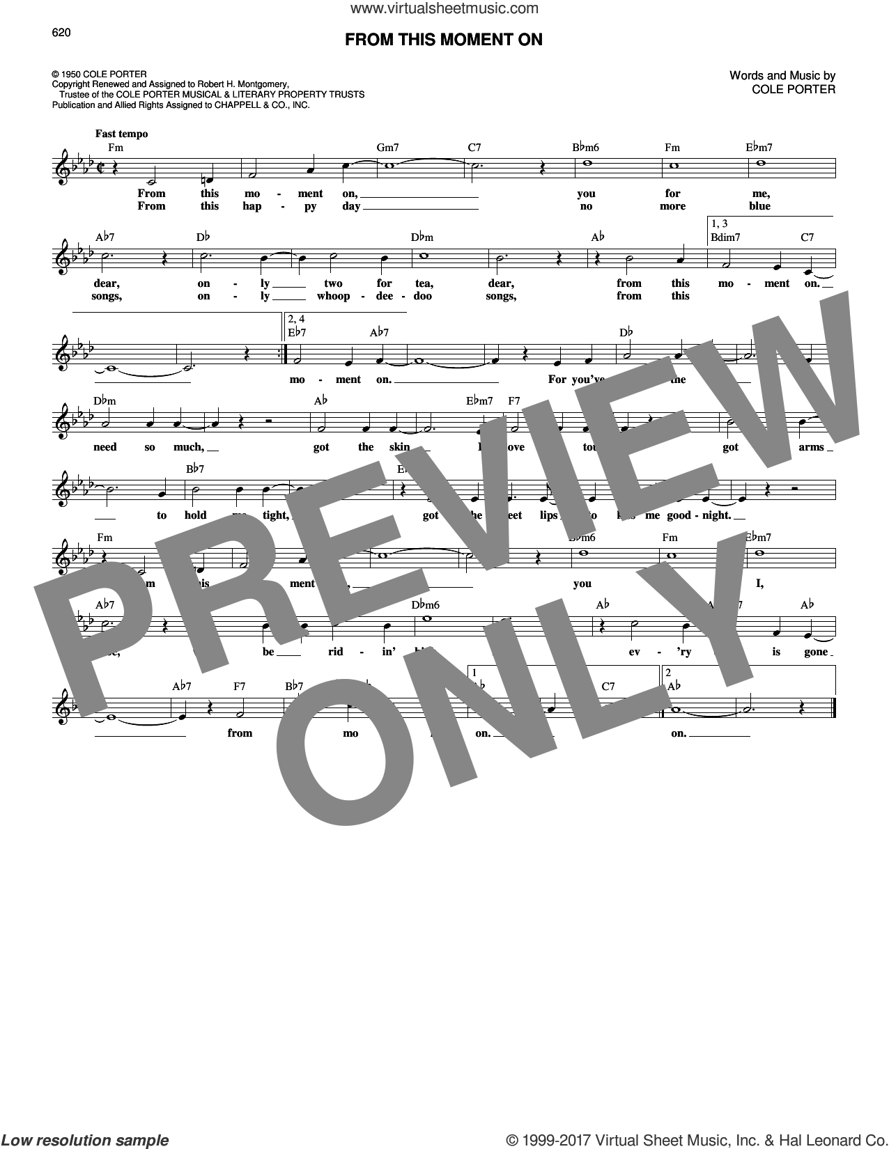 From This Moment On sheet music for voice and other instruments (fake book) by Cole Porter, intermediate. Score Image Preview.