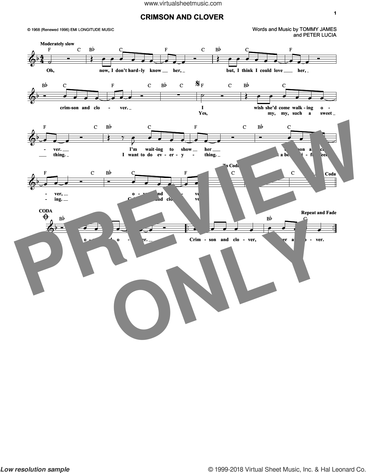 Crimson And Clover sheet music for voice and other instruments (fake book) by Tommy James & The Shondells, Joan Jett, Peter Lucia and Tommy James, intermediate skill level