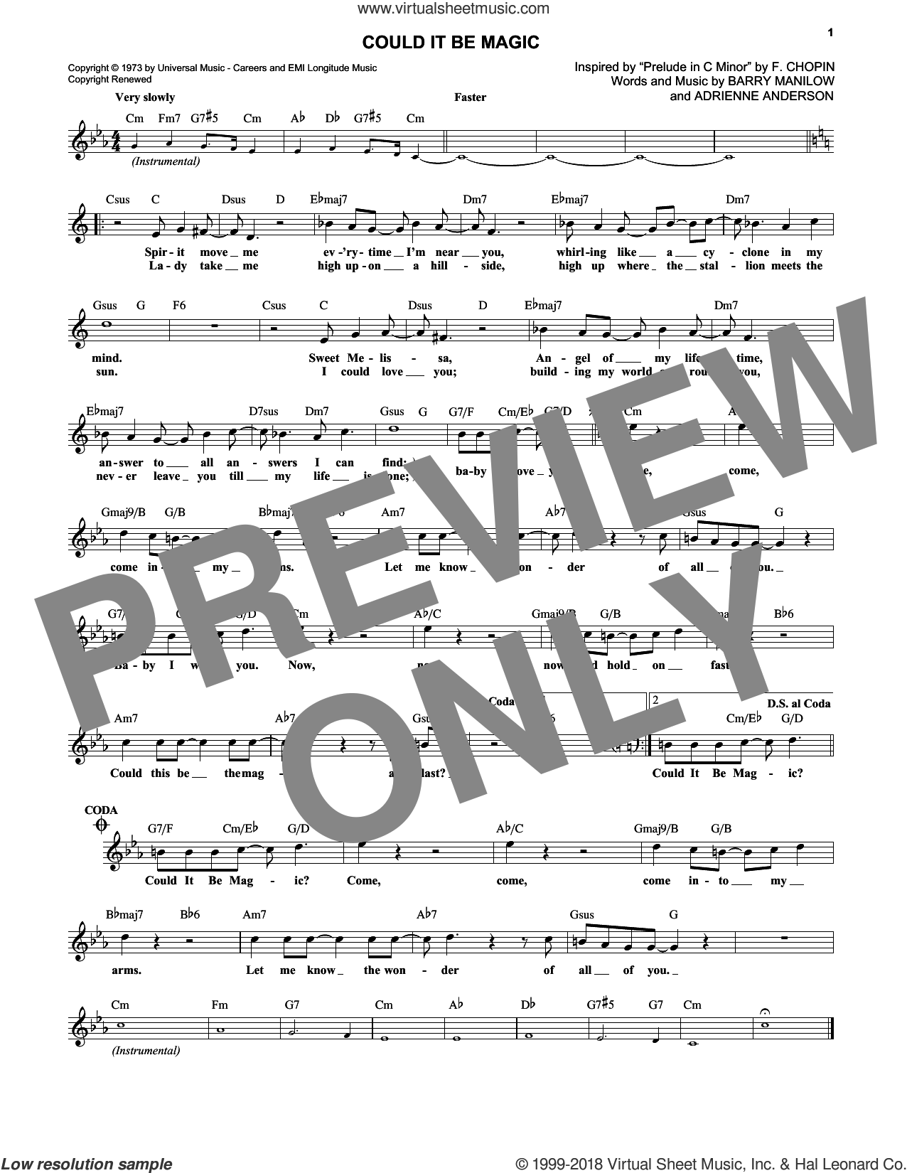 Could It Be Magic sheet music for voice and other instruments (fake book) by Barry Manilow and Adrienne Anderson, intermediate skill level