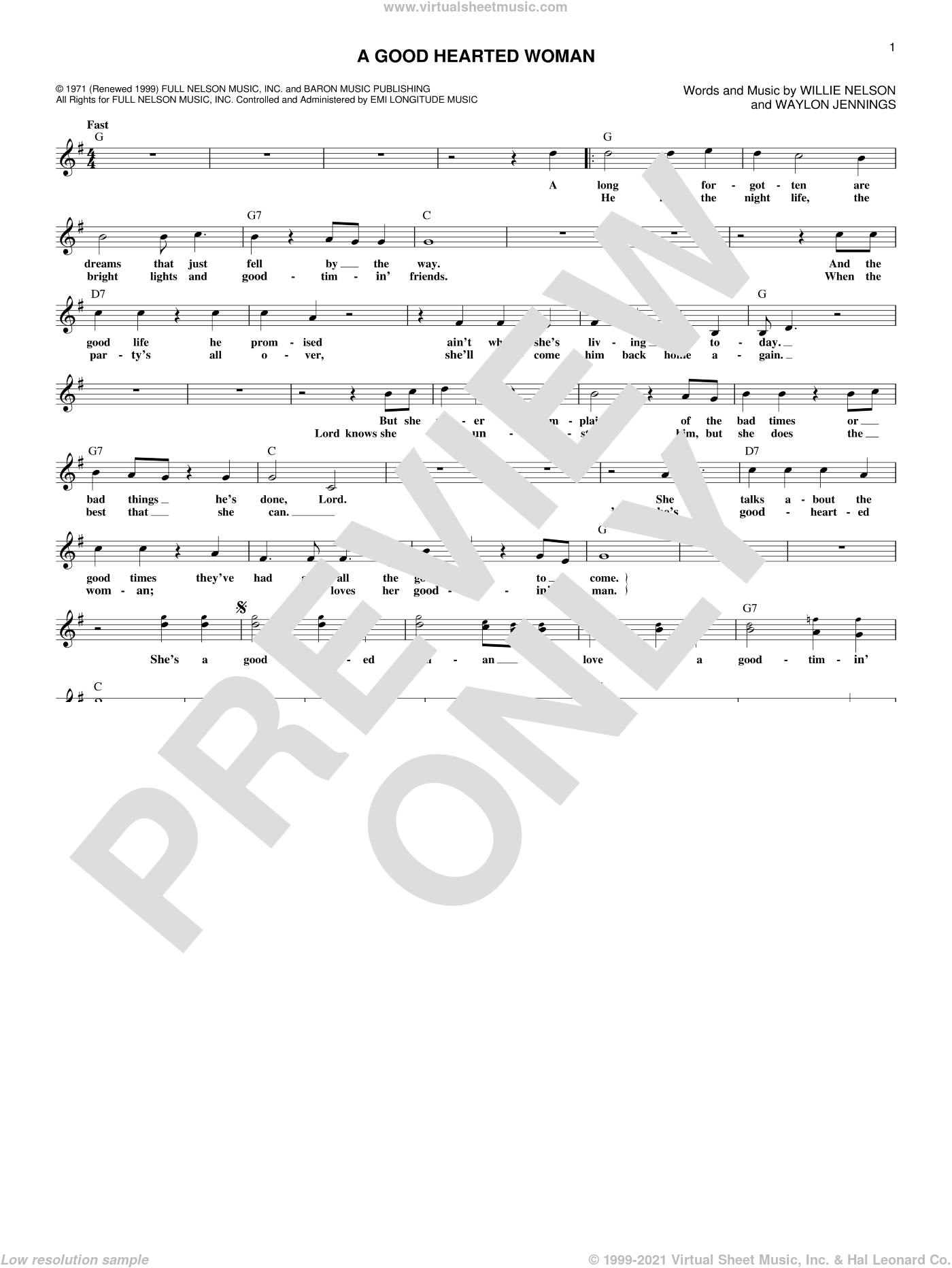 A Good Hearted Woman sheet music for voice and other instruments (fake book) by Willie Nelson and Waylon Jennings. Score Image Preview.