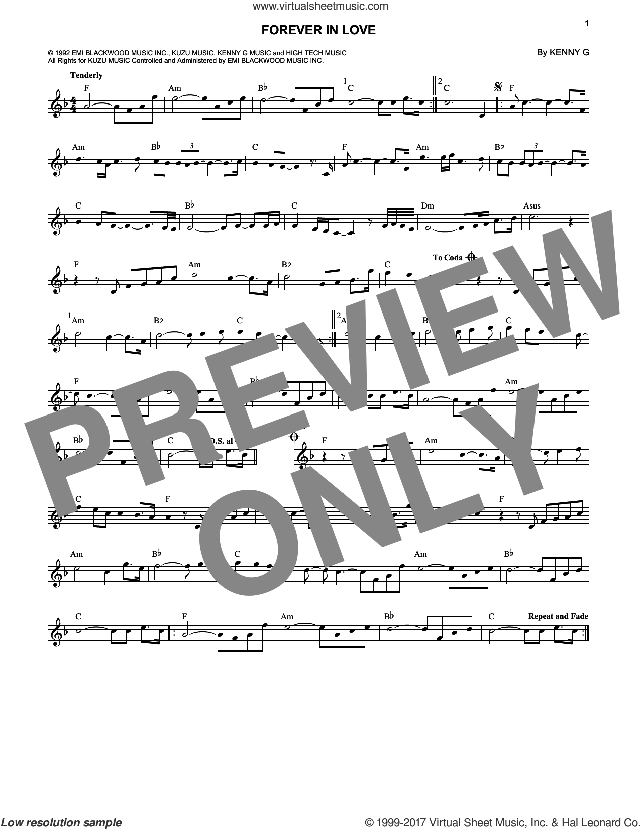 Forever In Love sheet music for voice and other instruments (fake book) by Kenny G, wedding score, intermediate voice. Score Image Preview.