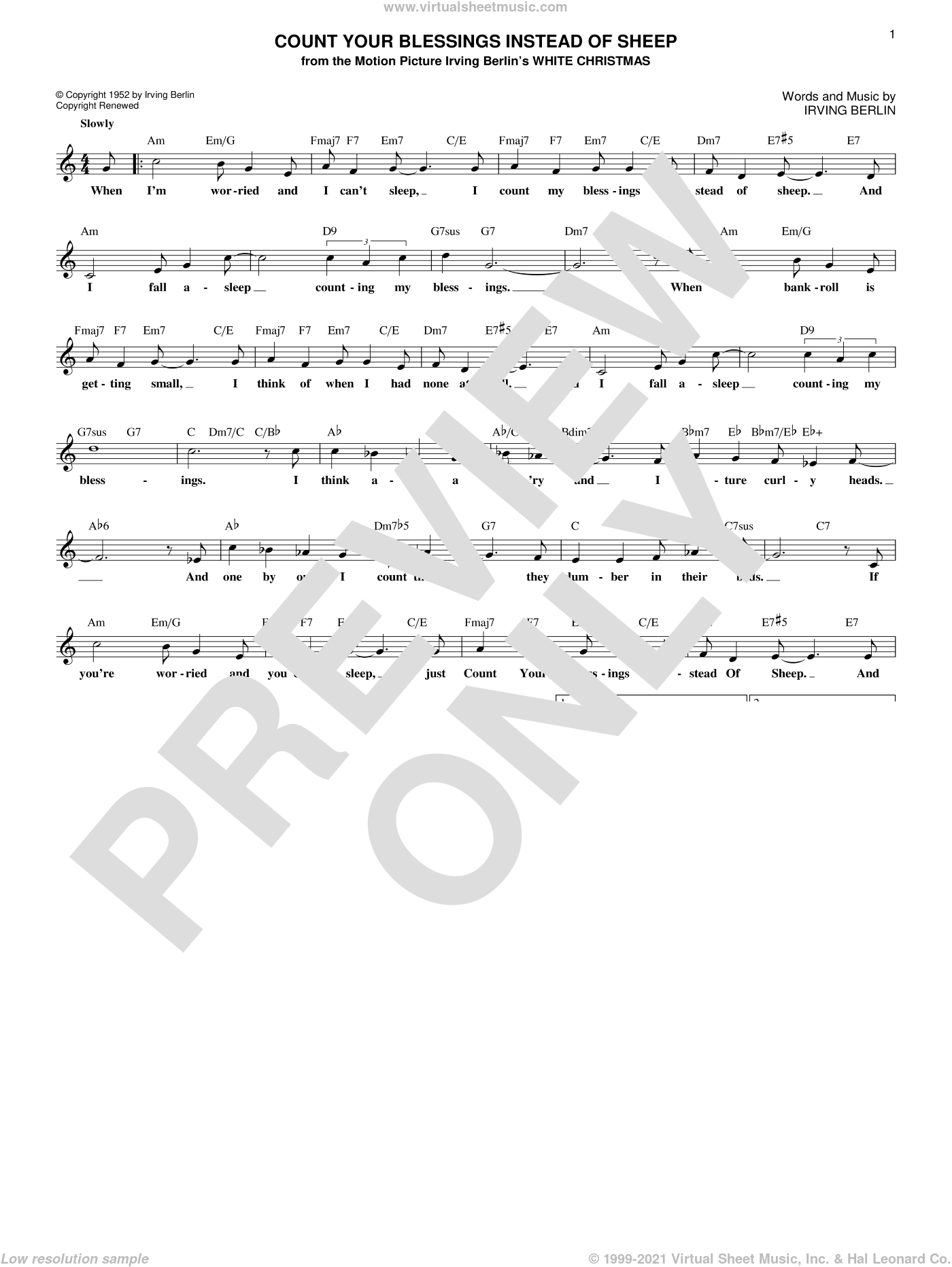 Count Your Blessings Instead Of Sheep sheet music for voice and other instruments (fake book) by Irving Berlin, Bing Crosby and Rosemary Clooney and Eddie Fisher, intermediate skill level