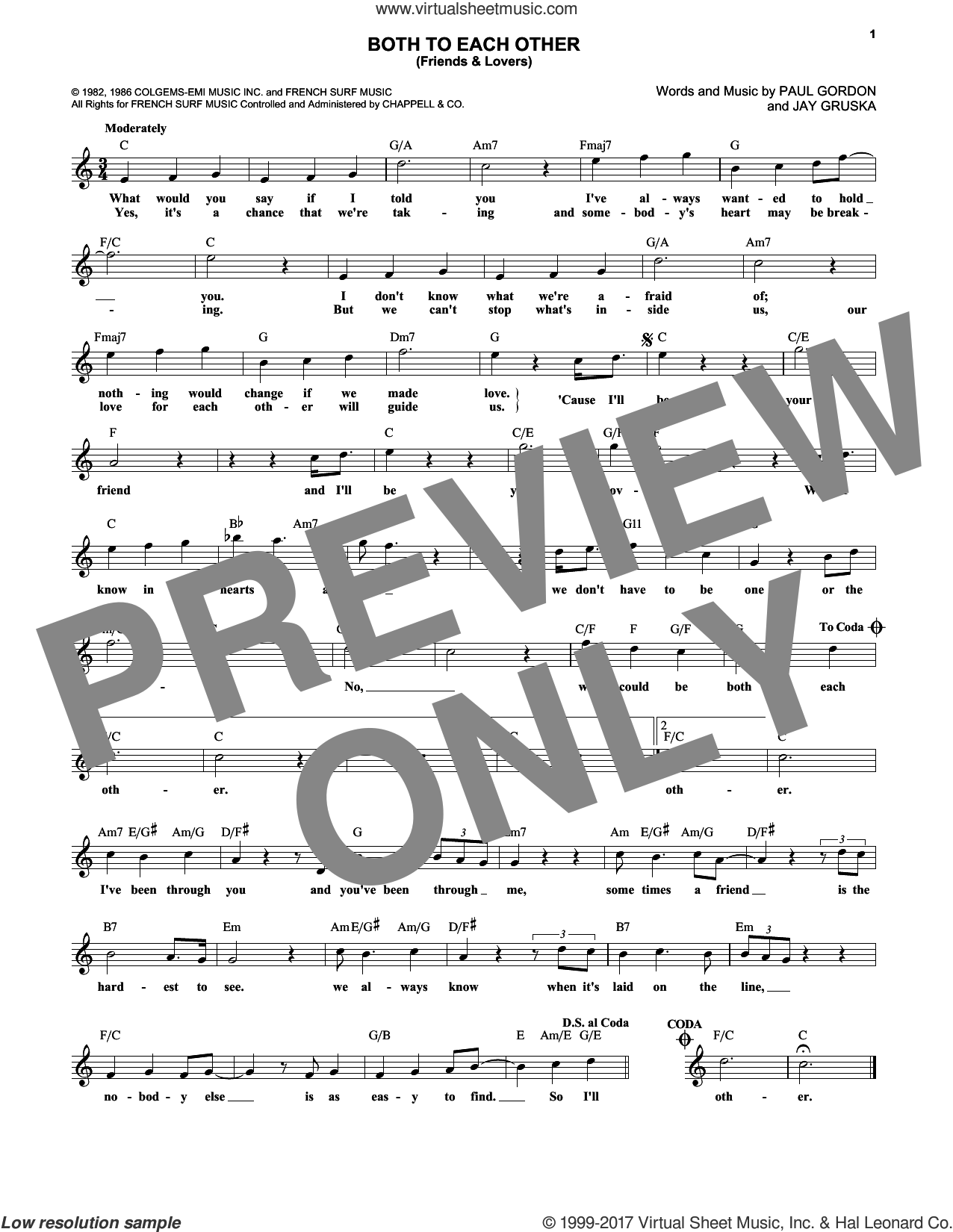 Both To Each Other (Friends and Lovers) sheet music for voice and other instruments (fake book) by Paul Gordon, Eddie Rabbitt & Juice Newton, Gloria Loring & Carl Anderson and Jay Gruska, intermediate. Score Image Preview.