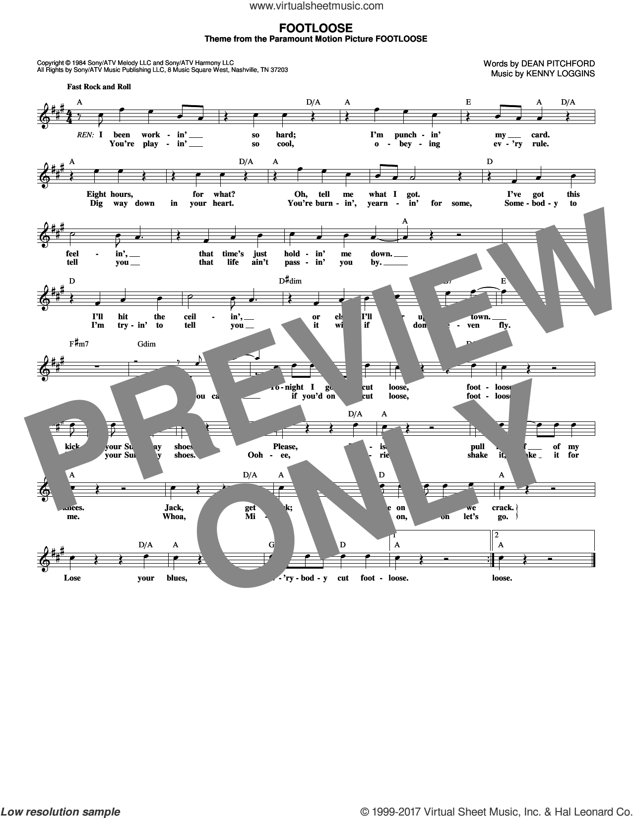 Footloose sheet music for voice and other instruments (fake book) by Kenny Loggins and Dean Pitchford, intermediate. Score Image Preview.