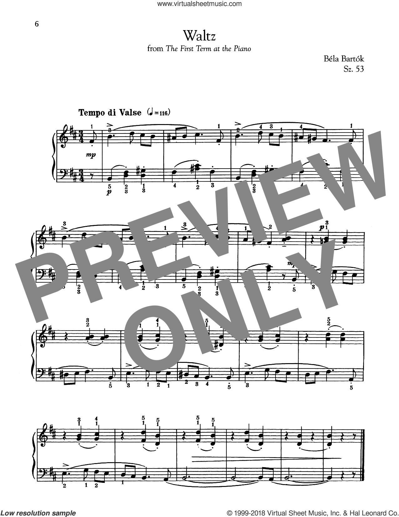 Waltz sheet music for piano solo by Bela Bartok and Bela Bartok, classical score, intermediate skill level