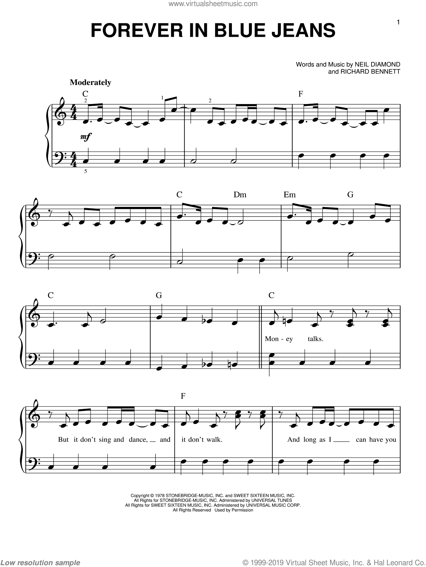 Forever In Blue Jeans sheet music for piano solo by Neil Diamond and Richard Bennett, easy skill level