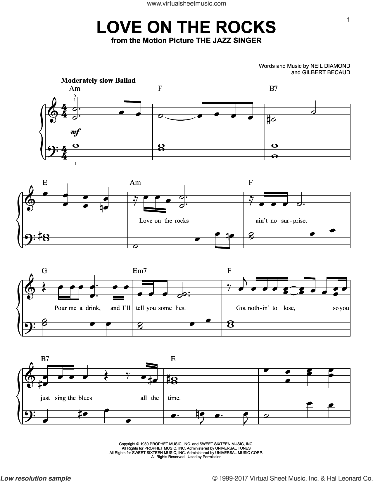 Love On The Rocks sheet music for piano solo by Neil Diamond and Gilbert Becaud, easy. Score Image Preview.