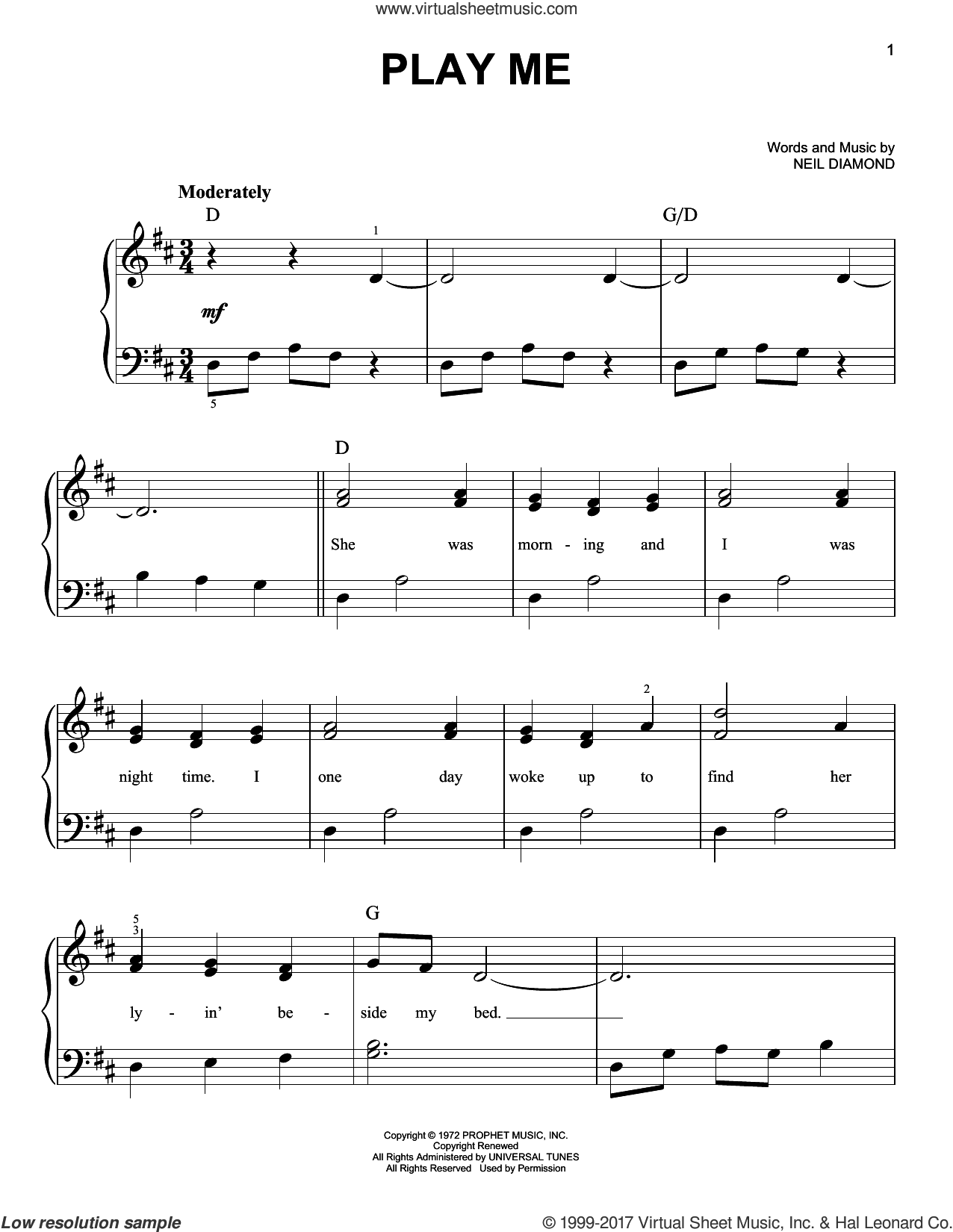Play Me sheet music for piano solo by Neil Diamond, easy. Score Image Preview.