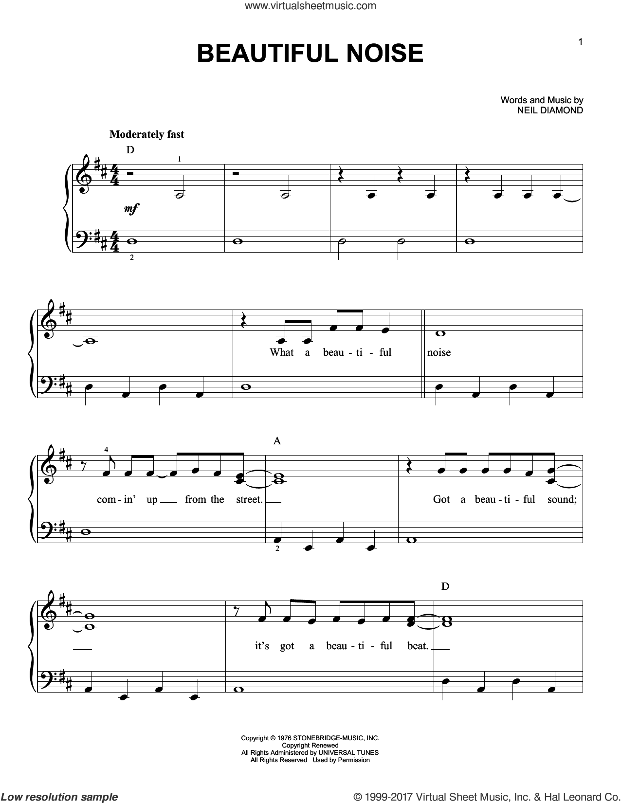 Beautiful Noise sheet music for piano solo by Neil Diamond, easy skill level