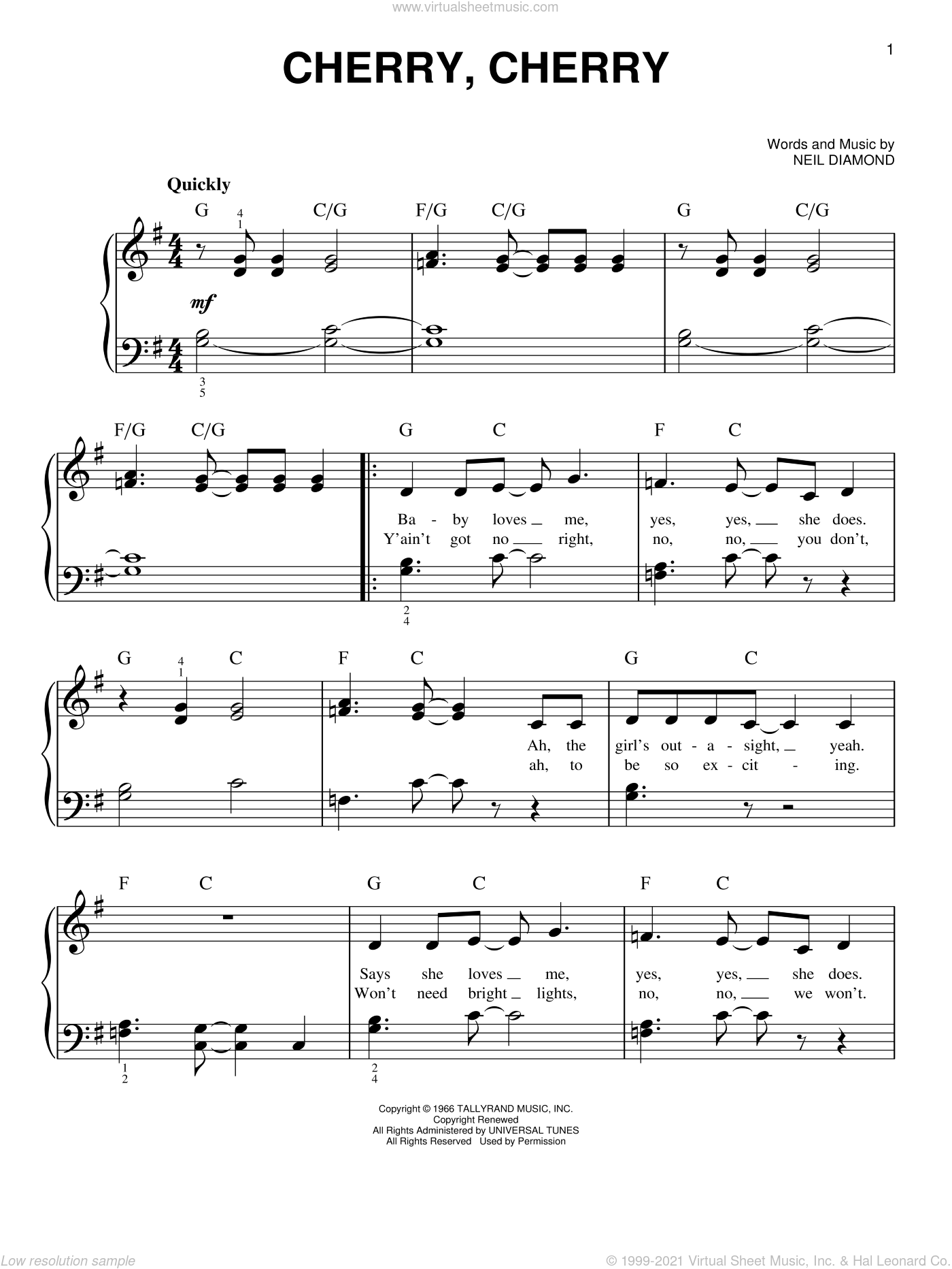 Cherry, Cherry sheet music for piano solo by Neil Diamond, easy skill level
