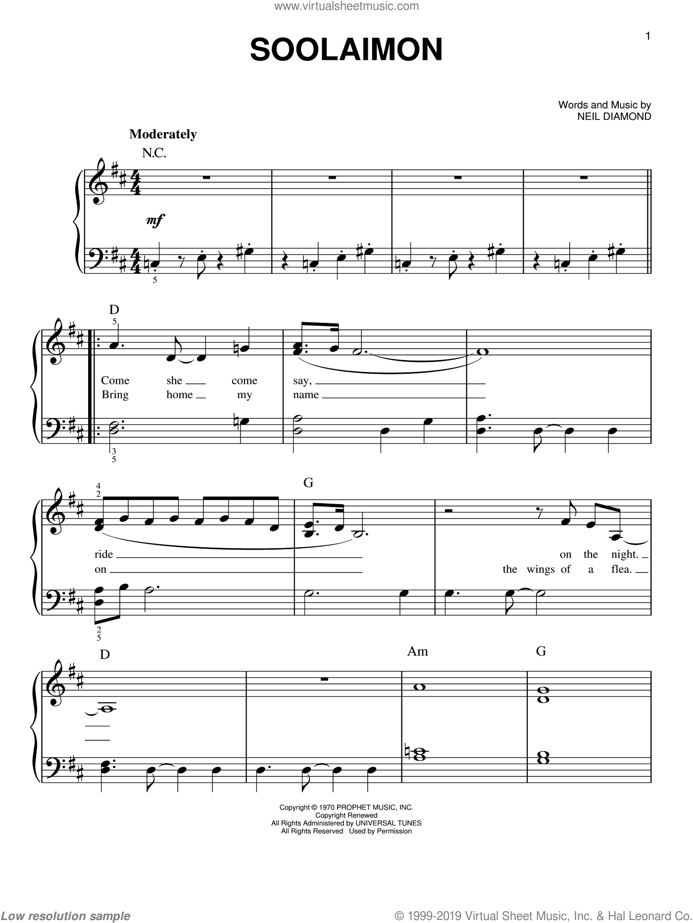 Soolaimon sheet music for piano solo by Neil Diamond, easy skill level