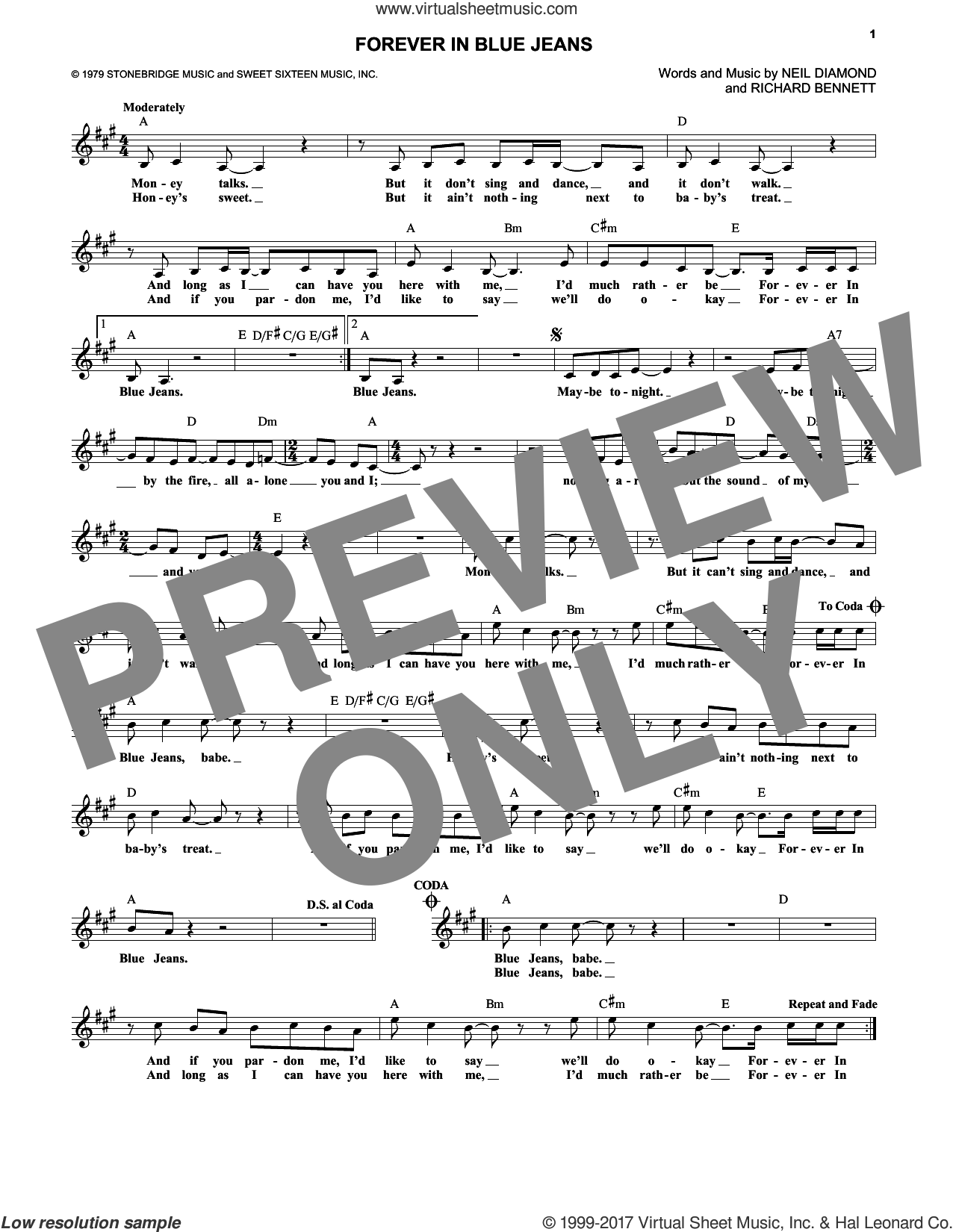 Forever In Blue Jeans sheet music for voice and other instruments (fake book) by Neil Diamond and Richard Bennett, intermediate