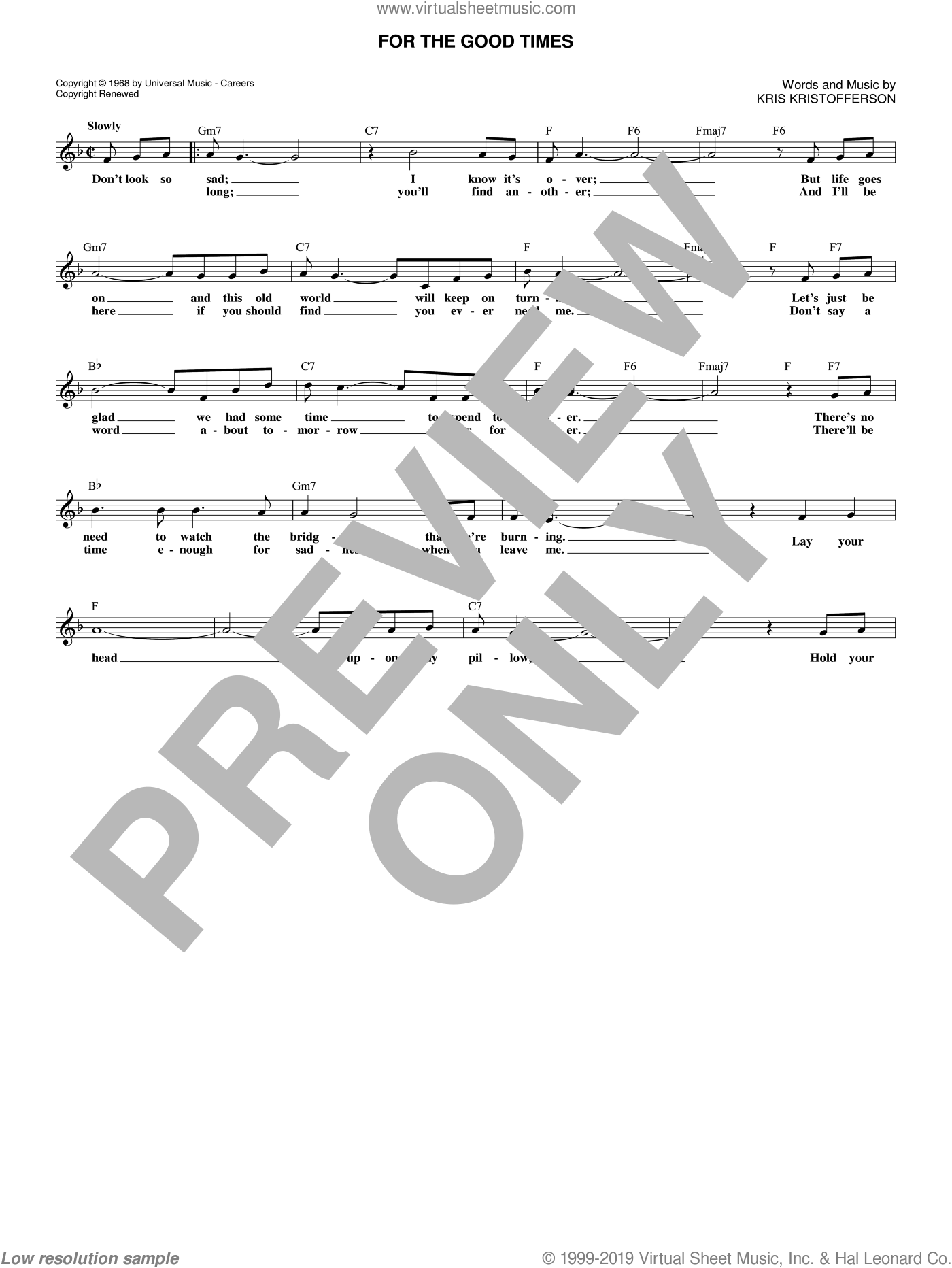 For The Good Times sheet music for voice and other instruments (fake book) by Kris Kristofferson, Elvis Presley and Ray Price, intermediate skill level