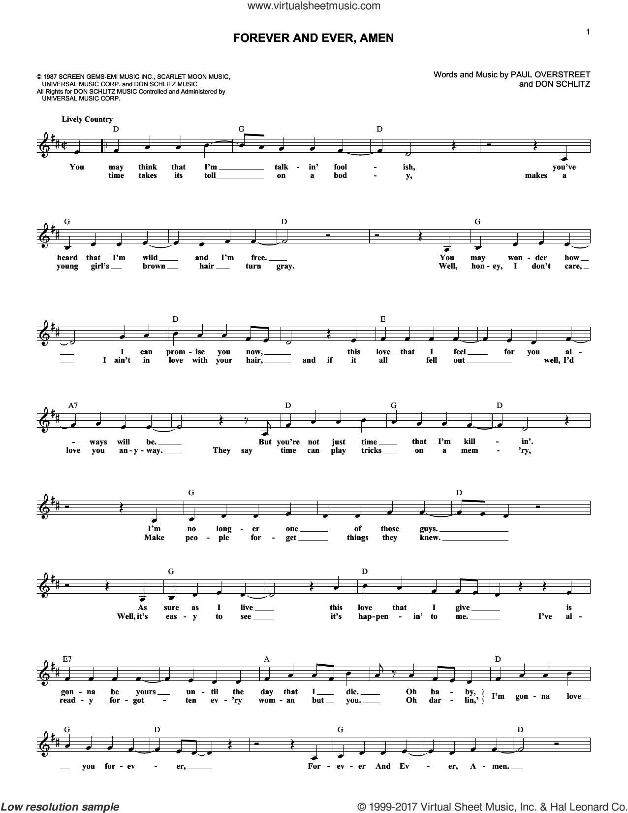 Forever And Ever, Amen sheet music for voice and other instruments (fake book) by Randy Travis, Don Schlitz and Paul Overstreet, intermediate skill level