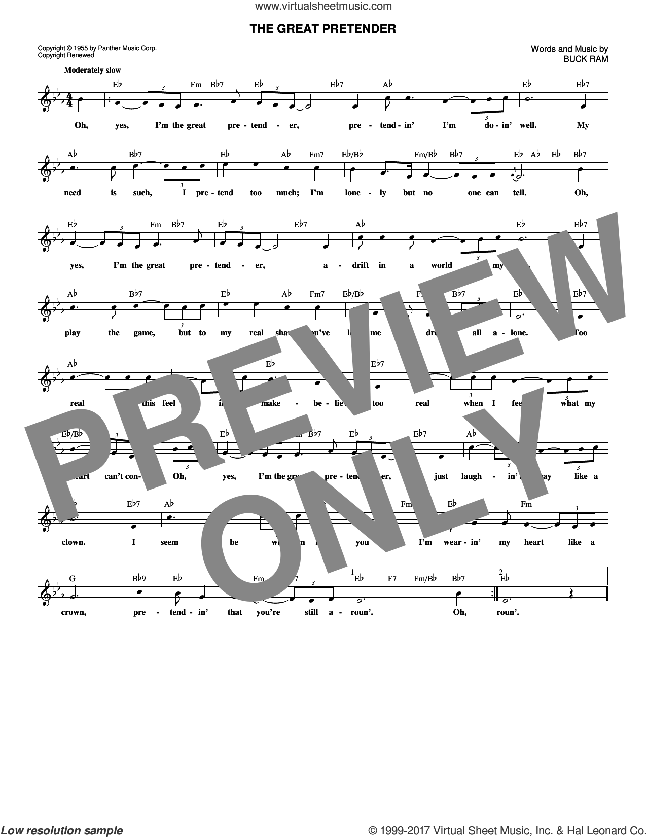 The Great Pretender sheet music for voice and other instruments (fake book) by The Platters and Buck Ram, intermediate voice. Score Image Preview.
