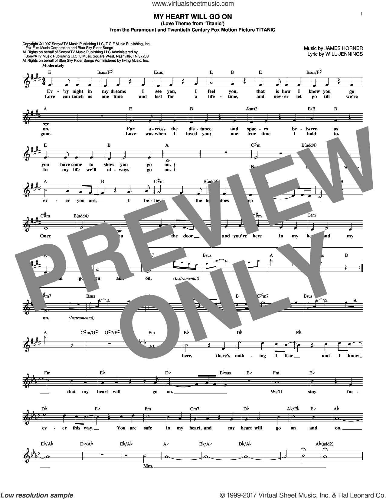 My Heart Will Go On (Love Theme From 'Titanic') sheet music for voice and other instruments (fake book) by Celine Dion, Deja Vu, Deja Vu, Kenny G, James Horner and Will Jennings, intermediate skill level