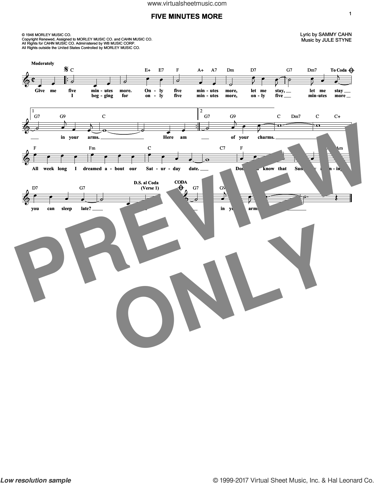 Five Minutes More sheet music for voice and other instruments (fake book) by Sammy Cahn and Jule Styne. Score Image Preview.