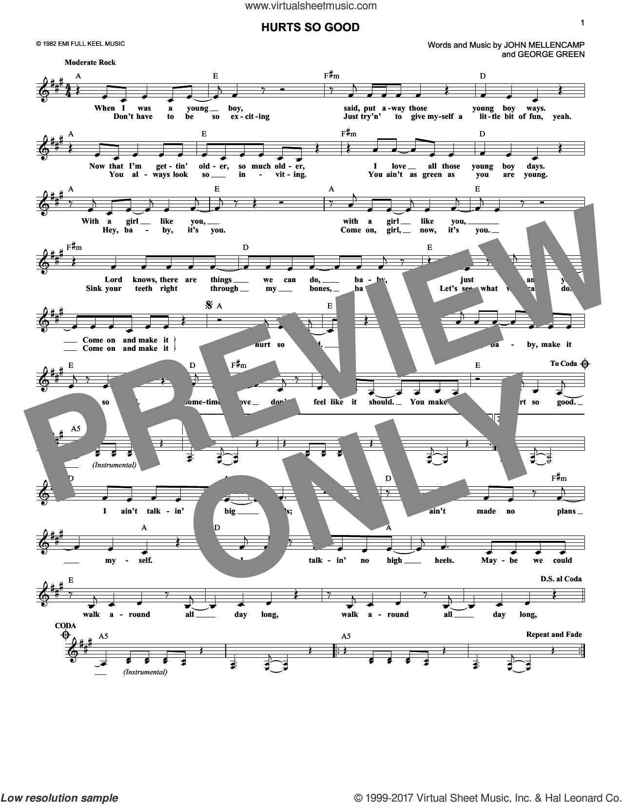 Hurts So Good sheet music for voice and other instruments (fake book) by George Green and John Mellencamp. Score Image Preview.