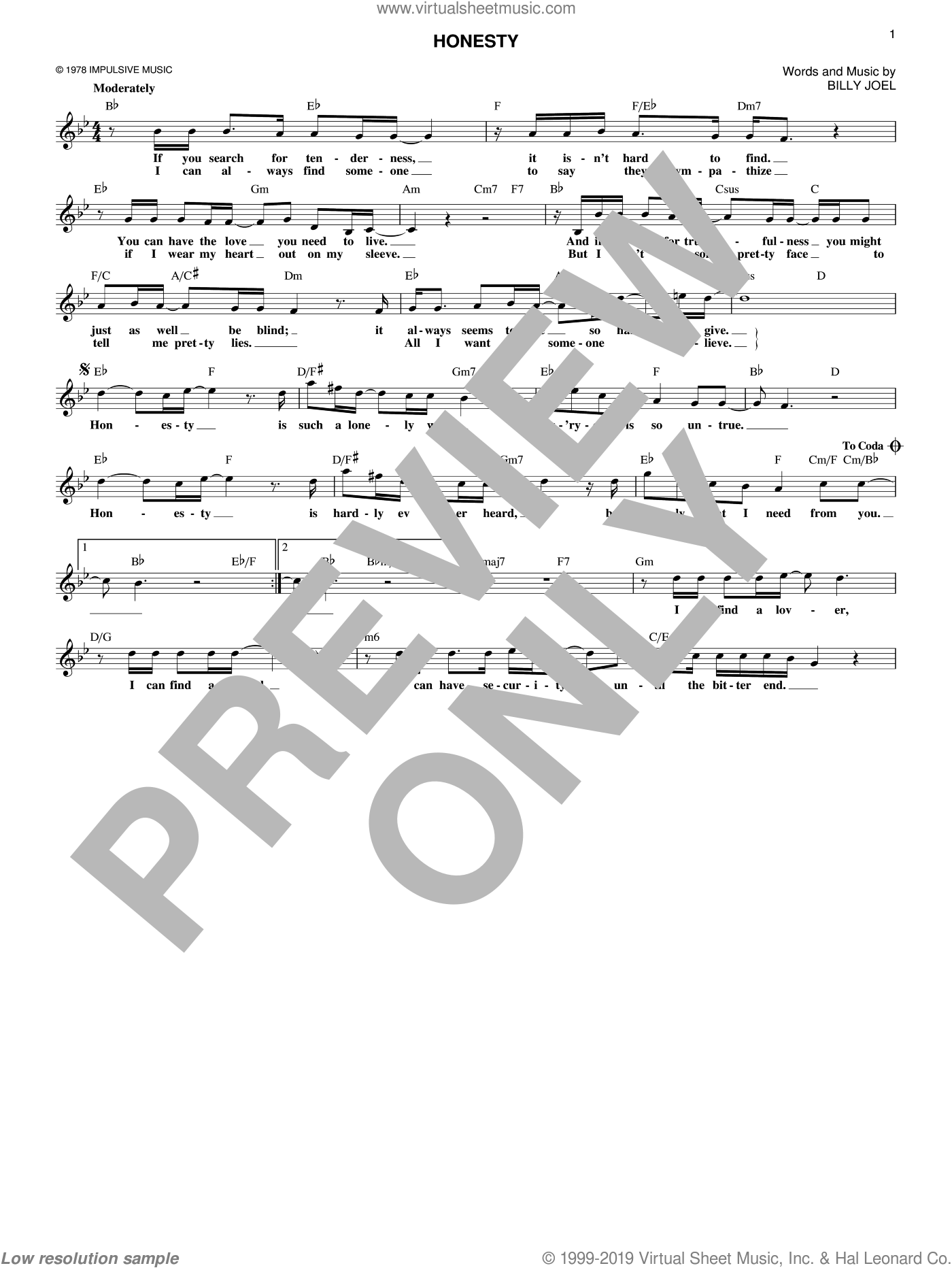 Honesty sheet music for voice and other instruments (fake book) by Billy Joel, intermediate skill level