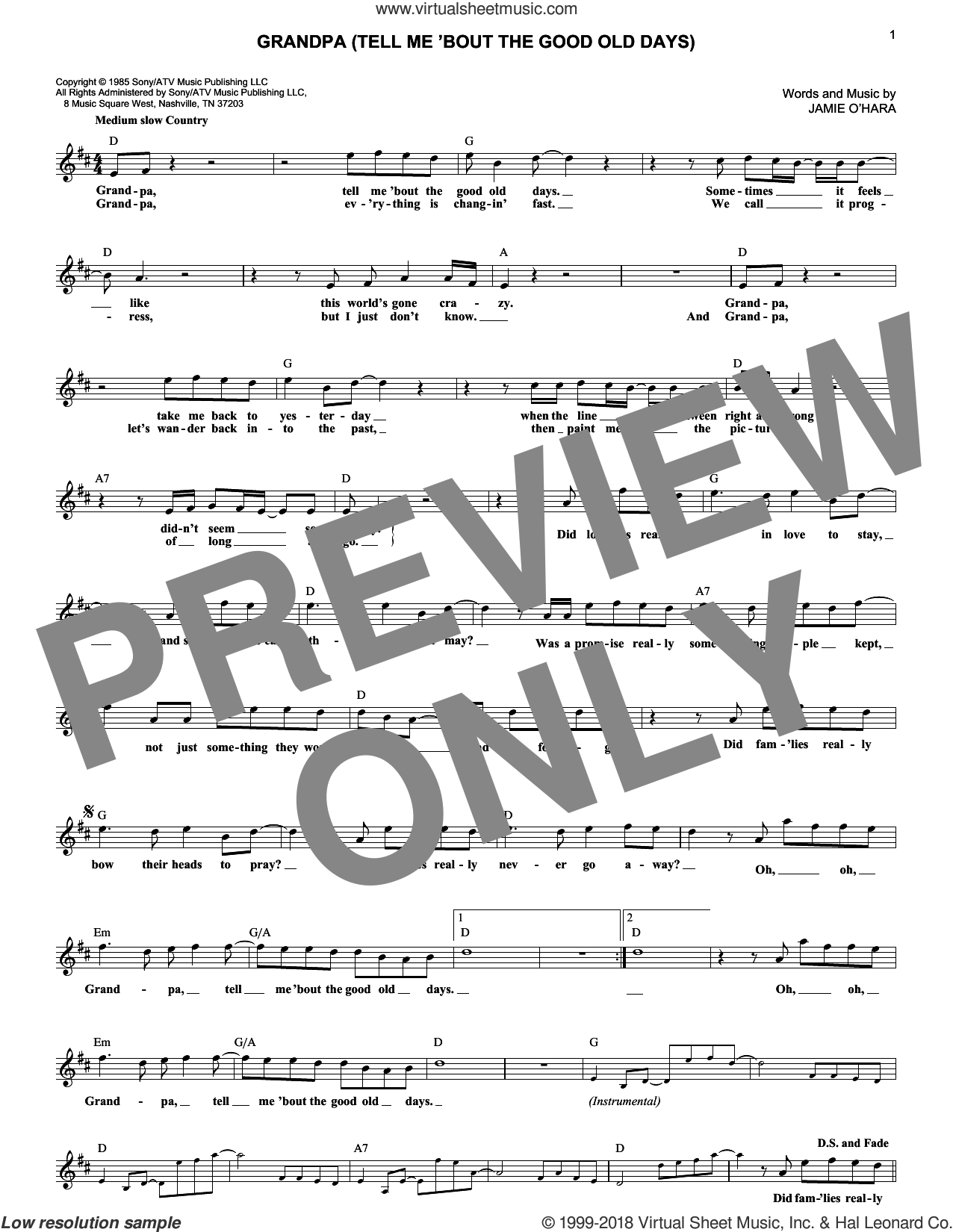 Grandpa (Tell Me 'Bout The Good Old Days) sheet music for voice and other instruments (fake book) by The Judds, intermediate