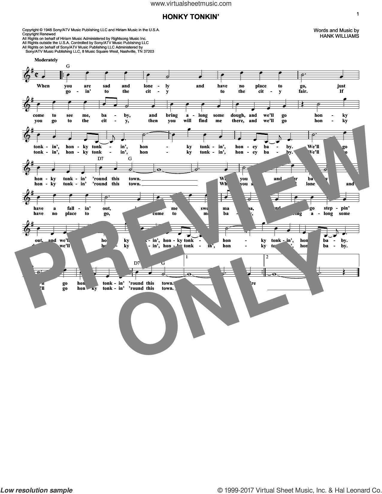 Honky Tonkin' sheet music for voice and other instruments (fake book) by Hank Williams and Hank Williams, Jr., intermediate skill level
