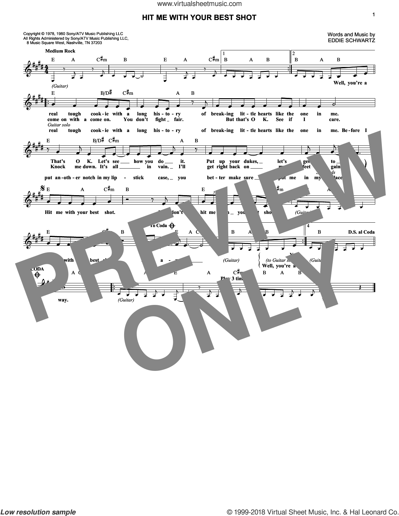 Hit Me With Your Best Shot sheet music for voice and other instruments (fake book) by Eddie Schwartz and Pat Benatar. Score Image Preview.