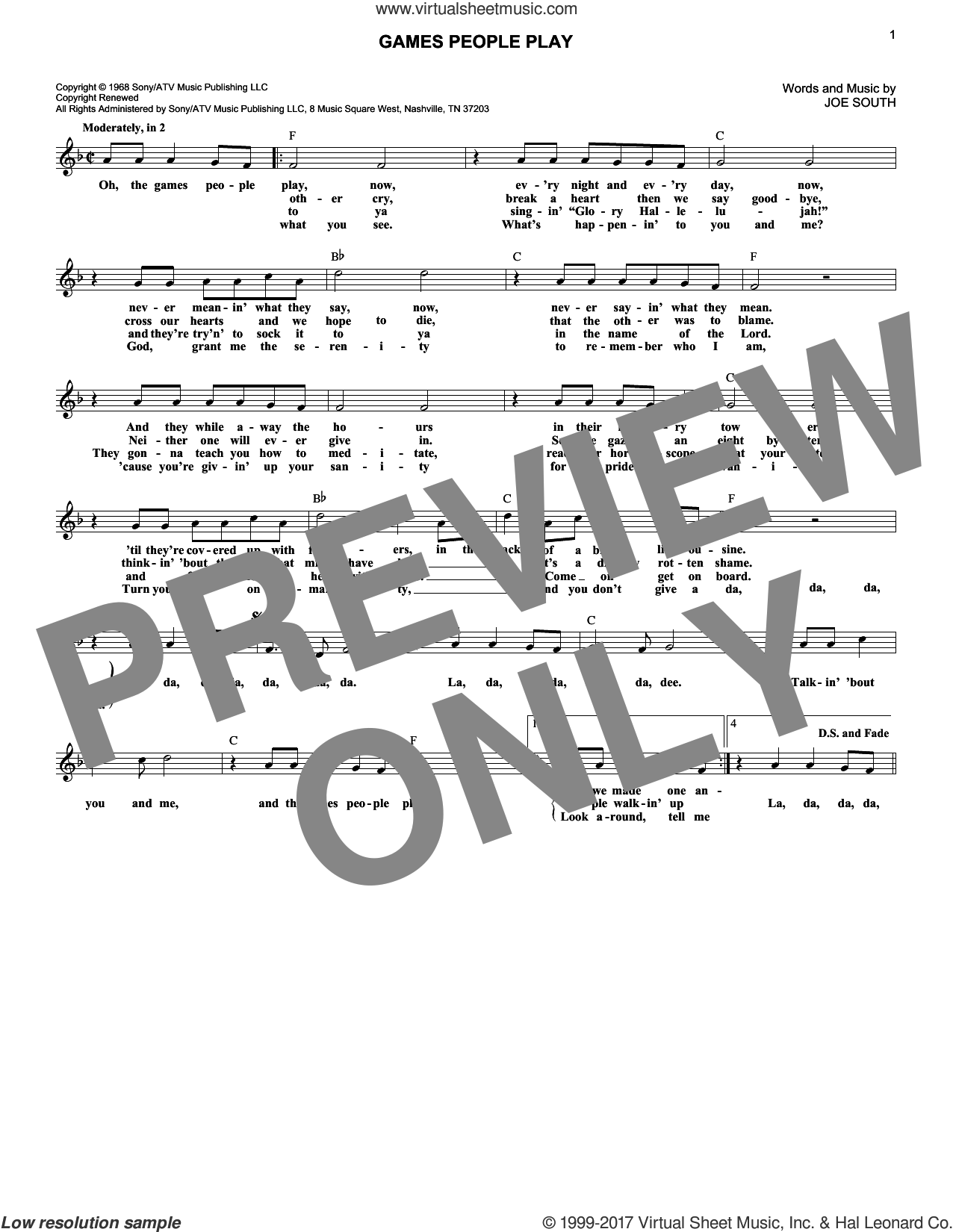 Games People Play sheet music for voice and other instruments (fake book) by Joe South, intermediate voice. Score Image Preview.