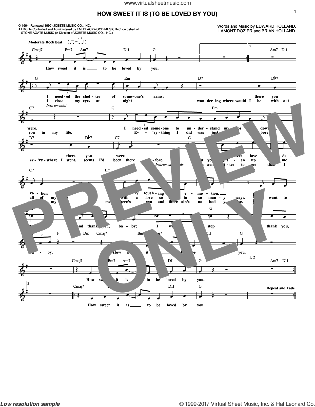 How Sweet It Is (To Be Loved By You) sheet music for voice and other instruments (fake book) by James Taylor, Marvin Gaye, Brian Holland, Eddie Holland and Lamont Dozier, intermediate voice. Score Image Preview.