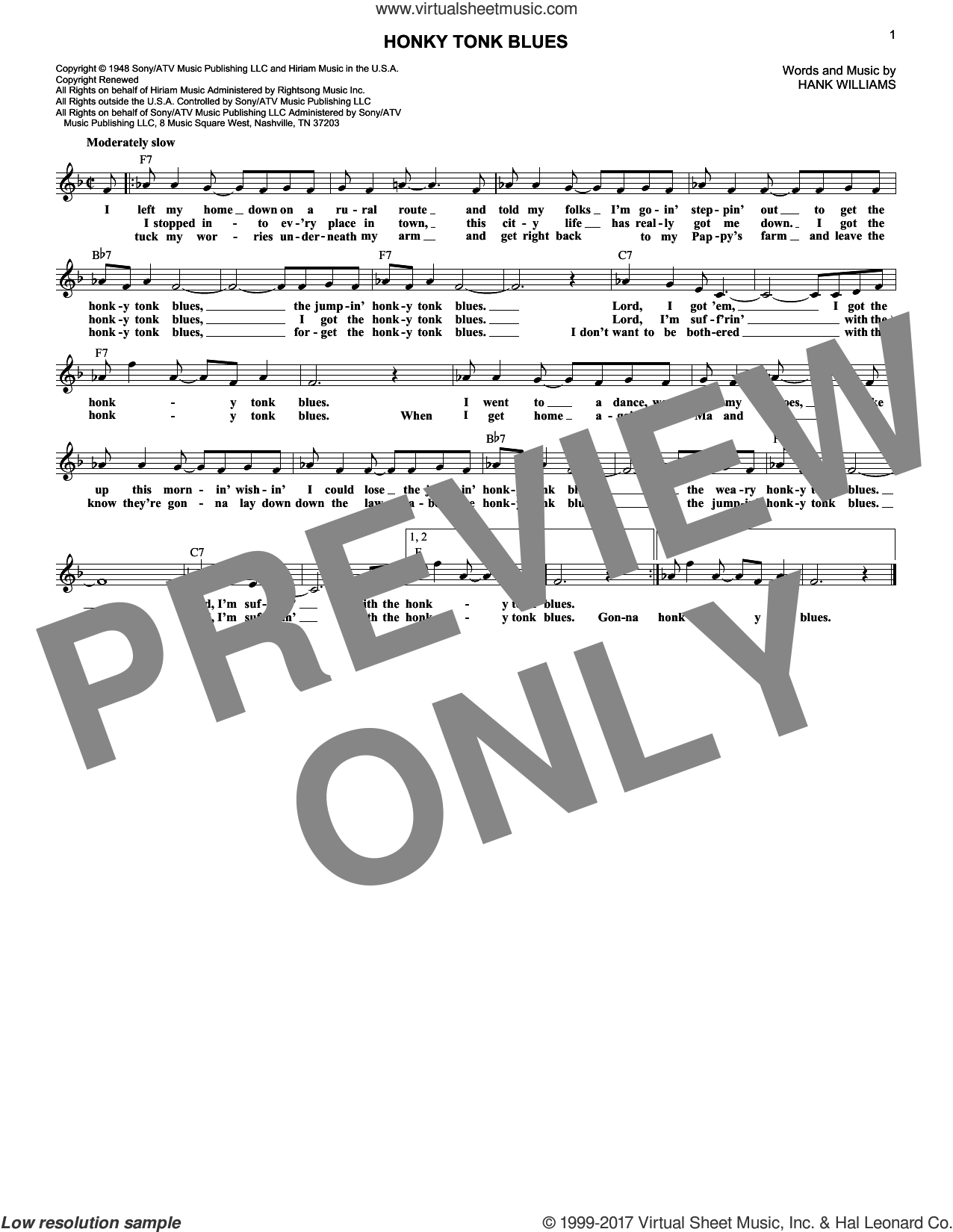 Honky Tonk Blues sheet music for voice and other instruments (fake book) by Hank Williams and Charley Pride, intermediate skill level