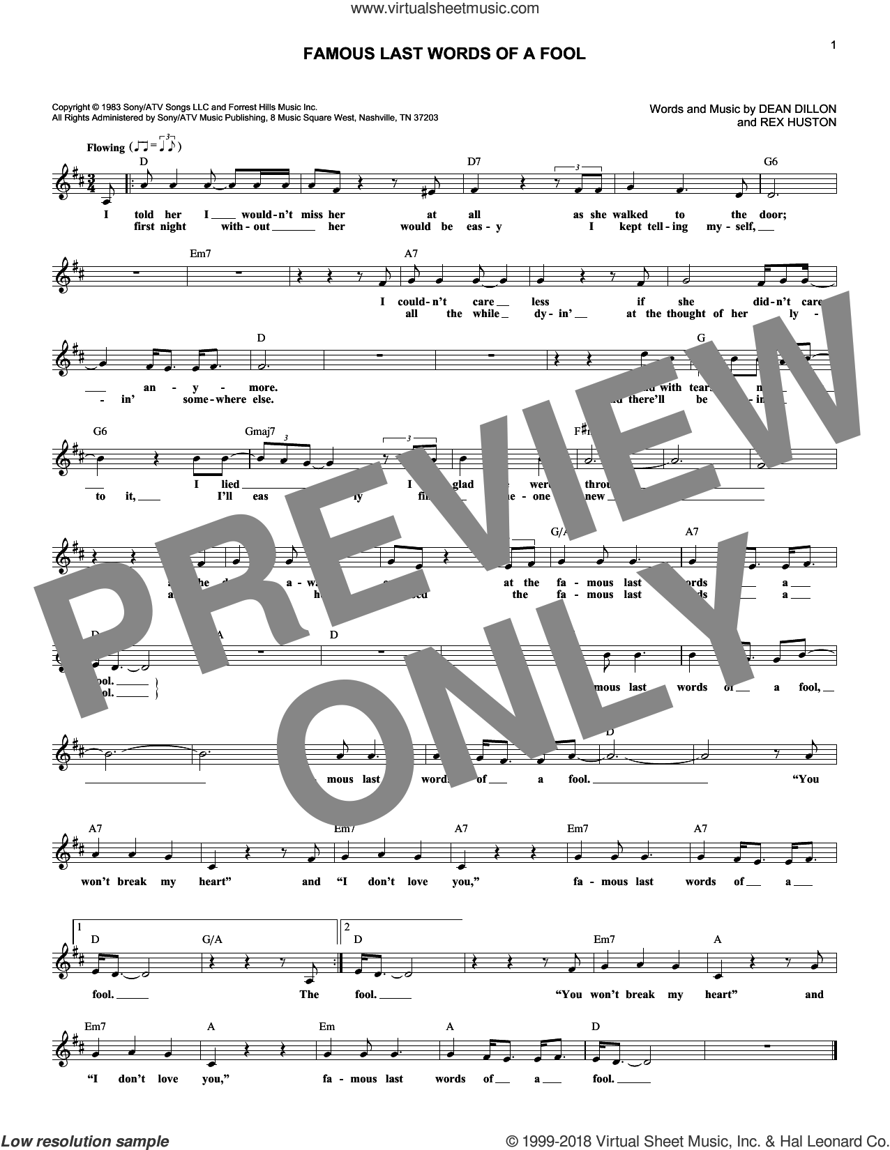 Famous Last Words Of A Fool sheet music for voice and other instruments (fake book) by George Strait, Dean Dillon and Rex Huston, intermediate. Score Image Preview.