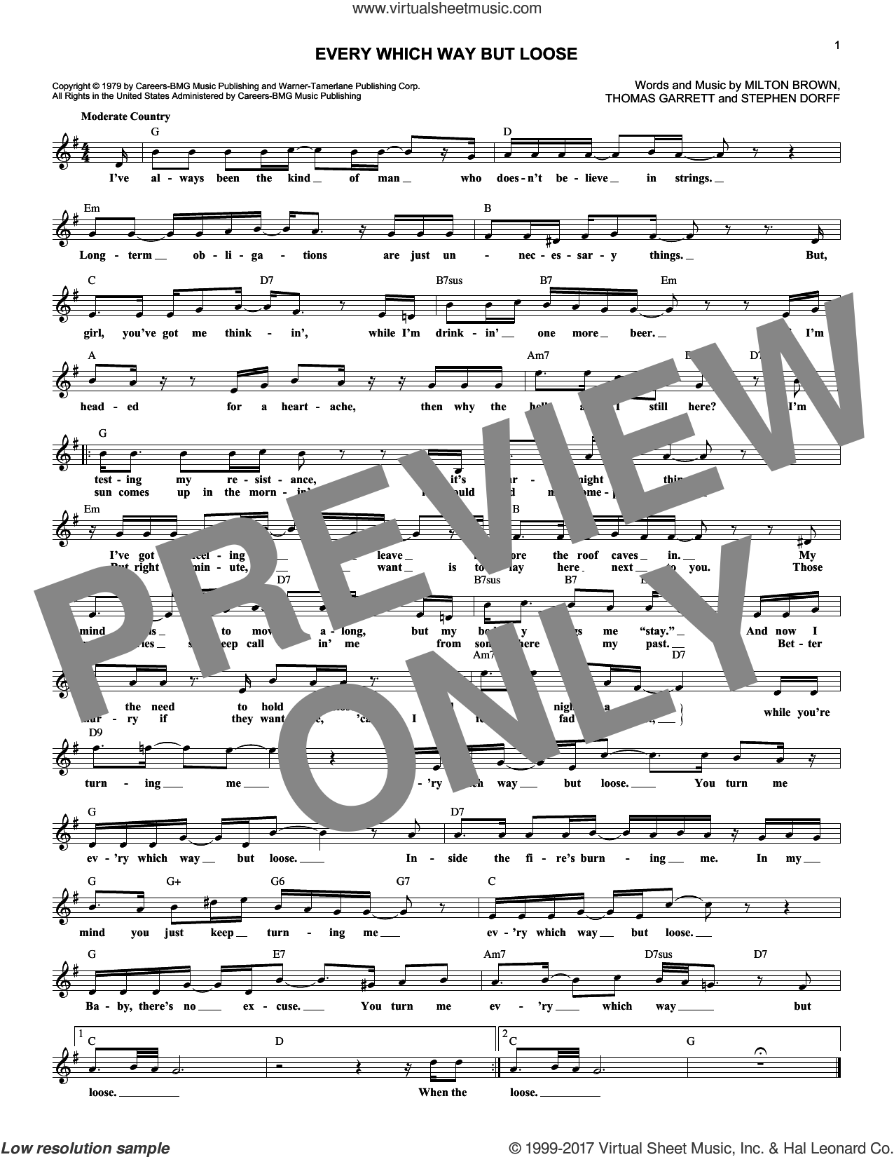 Every Which Way But Loose sheet music for voice and other instruments (fake book) by Eddie Rabbit, Milton Brown, Snuff Garrett and Steve Dorff, intermediate skill level