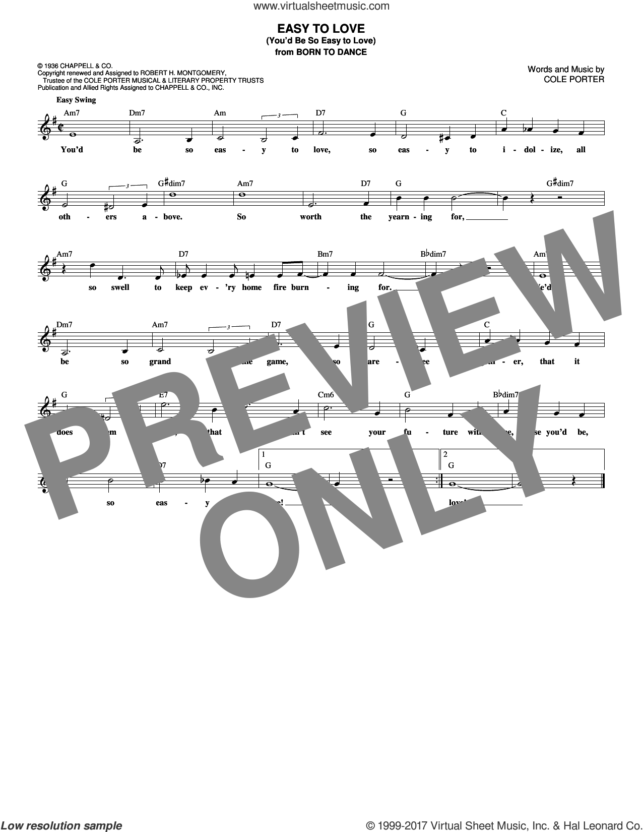 Easy To Love (You'd Be So Easy To Love) sheet music for voice and other instruments (fake book) by Cole Porter, intermediate skill level