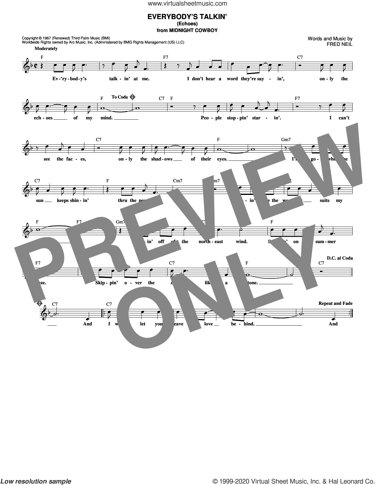 Everybody's Talkin' (Echoes) sheet music for voice and other instruments (fake book) by Harry Nilsson and Fred Neil, intermediate skill level